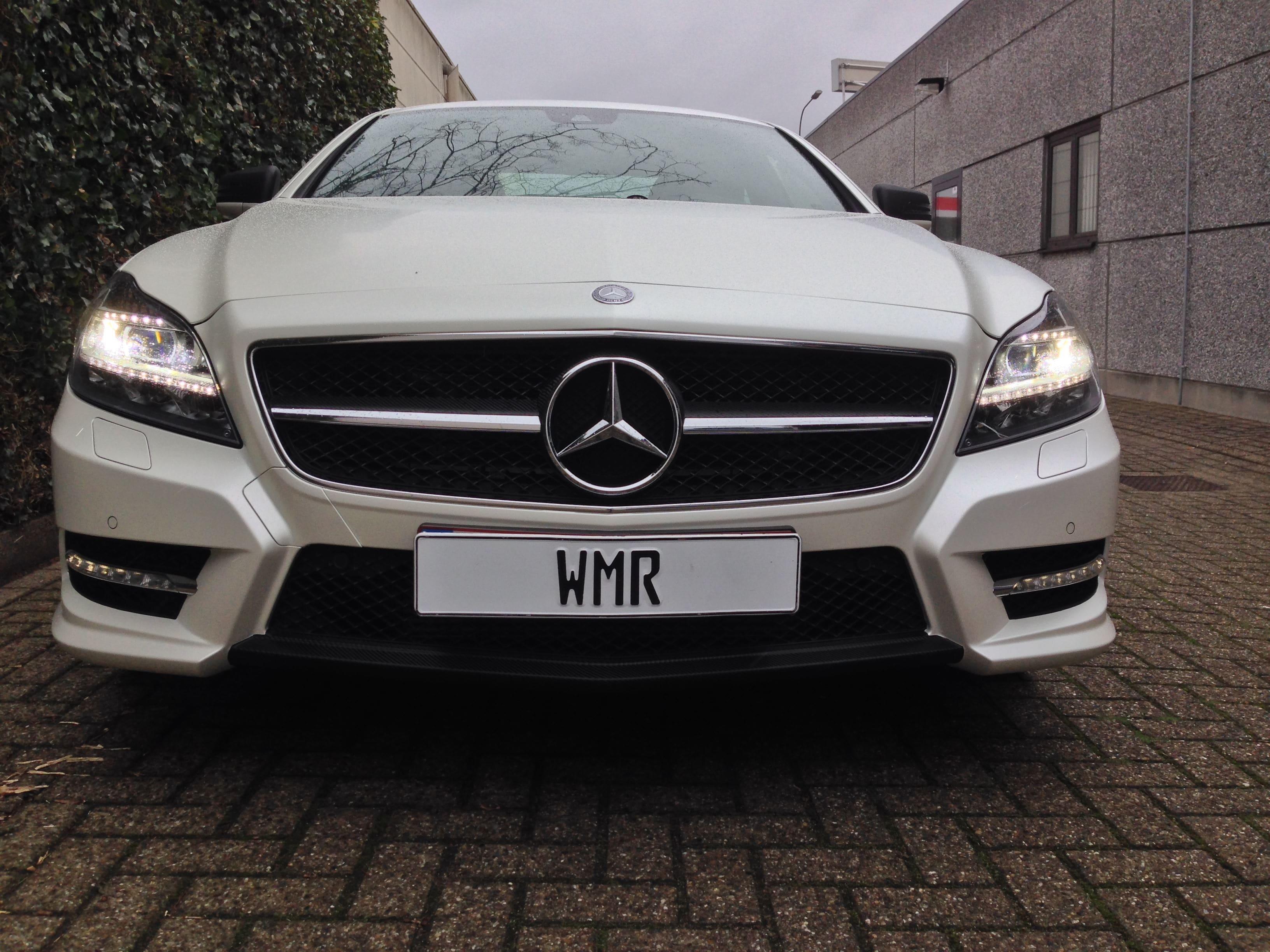 Mercedes CLS met White Satin Pearl Wrap, Carwrapping door Wrapmyride.nu Foto-nr:6206, ©2021