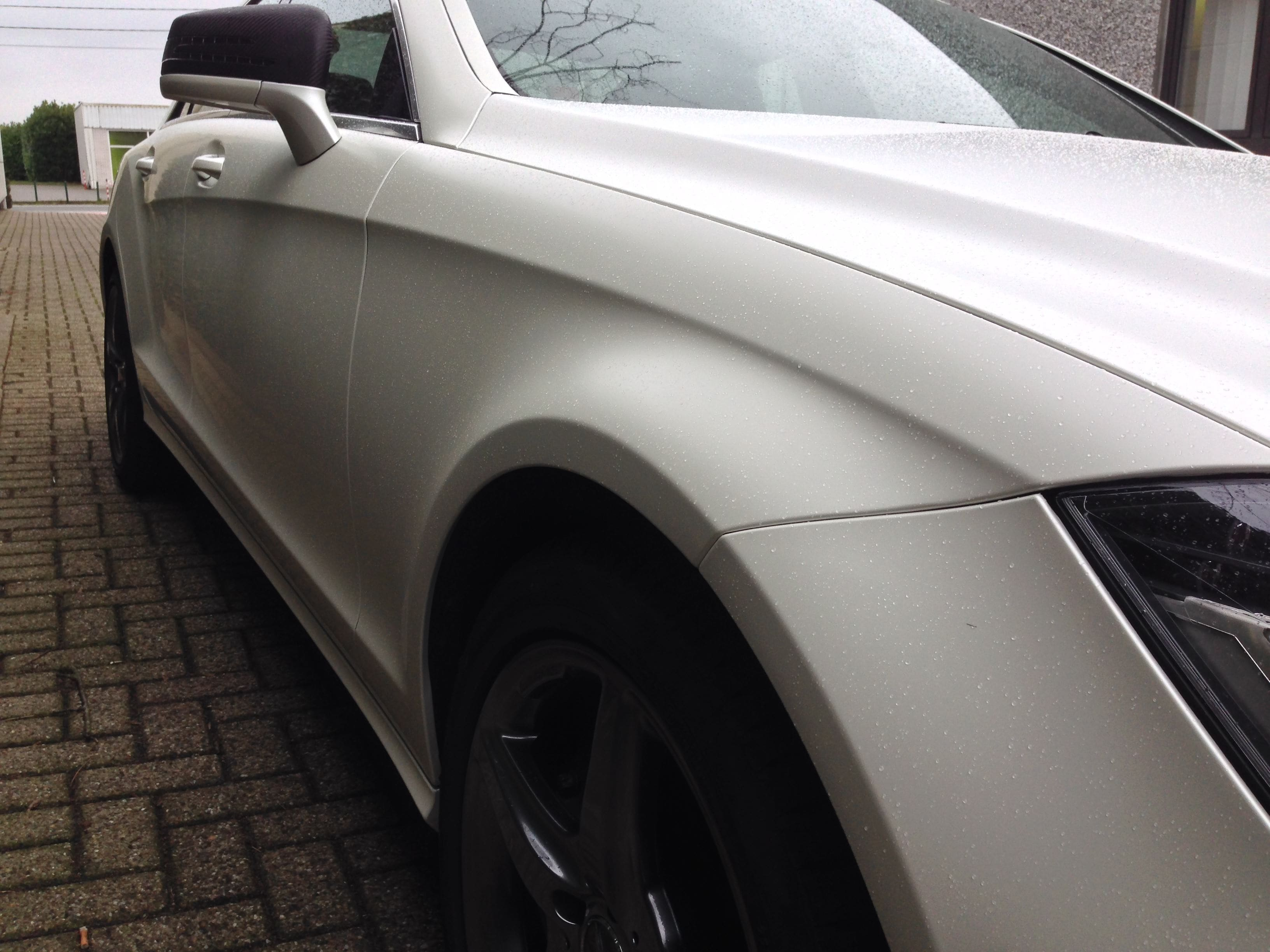 Mercedes CLS met White Satin Pearl Wrap, Carwrapping door Wrapmyride.nu Foto-nr:6209, ©2020