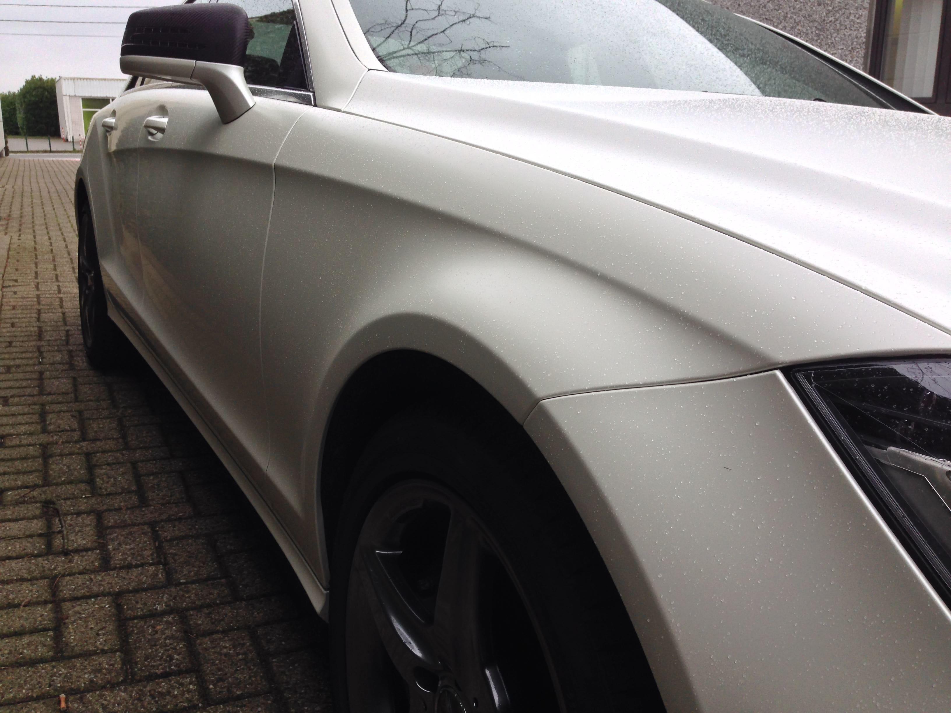 Mercedes CLS met White Satin Pearl Wrap, Carwrapping door Wrapmyride.nu Foto-nr:6209, ©2021