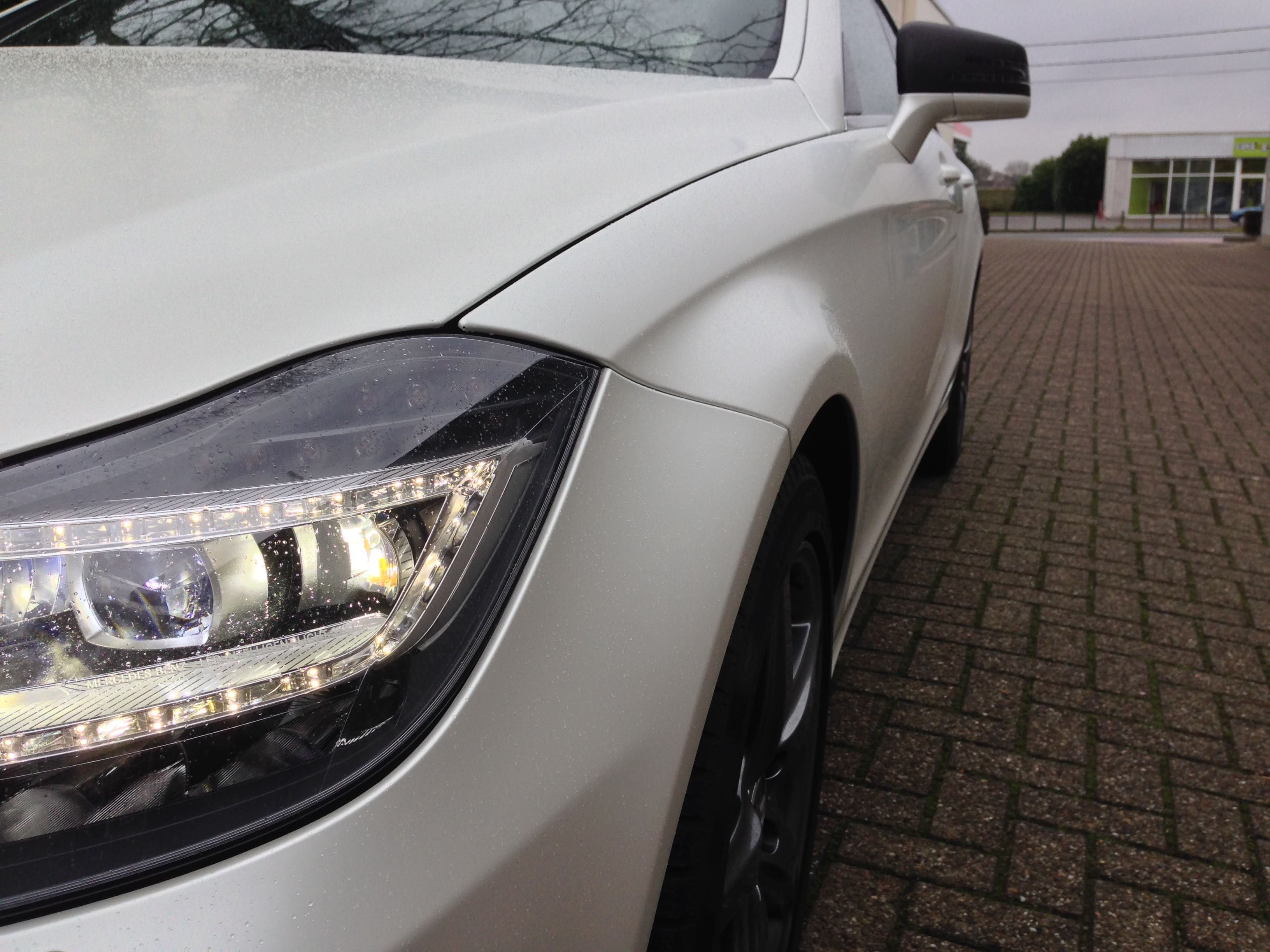 Mercedes CLS met White Satin Pearl Wrap, Carwrapping door Wrapmyride.nu Foto-nr:6210, ©2020