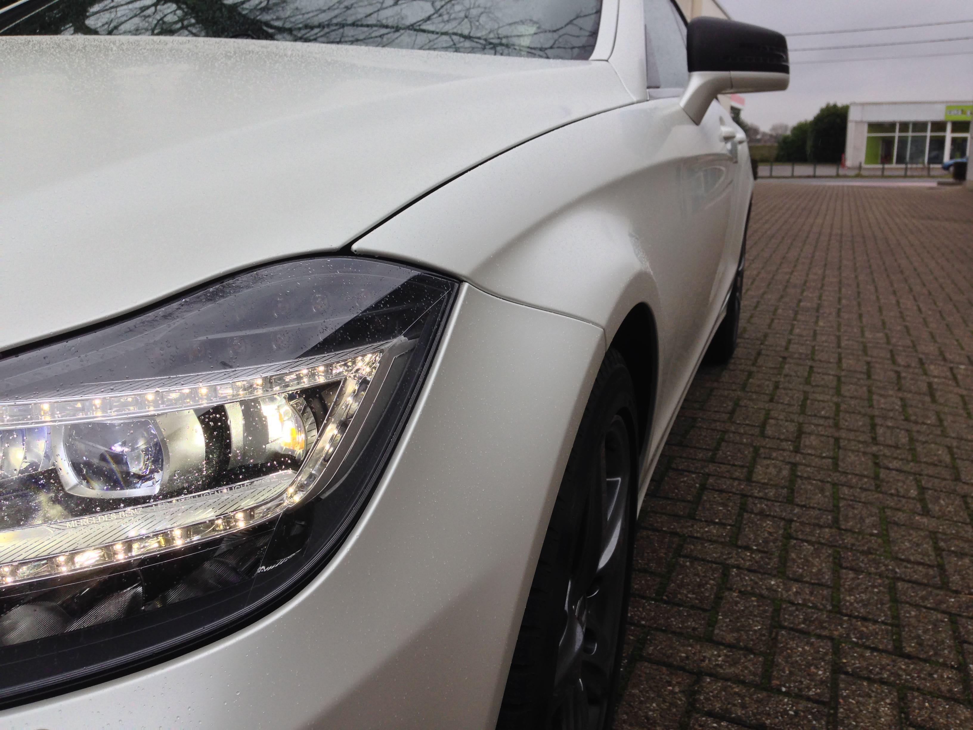 Mercedes CLS met White Satin Pearl Wrap, Carwrapping door Wrapmyride.nu Foto-nr:6210, ©2021