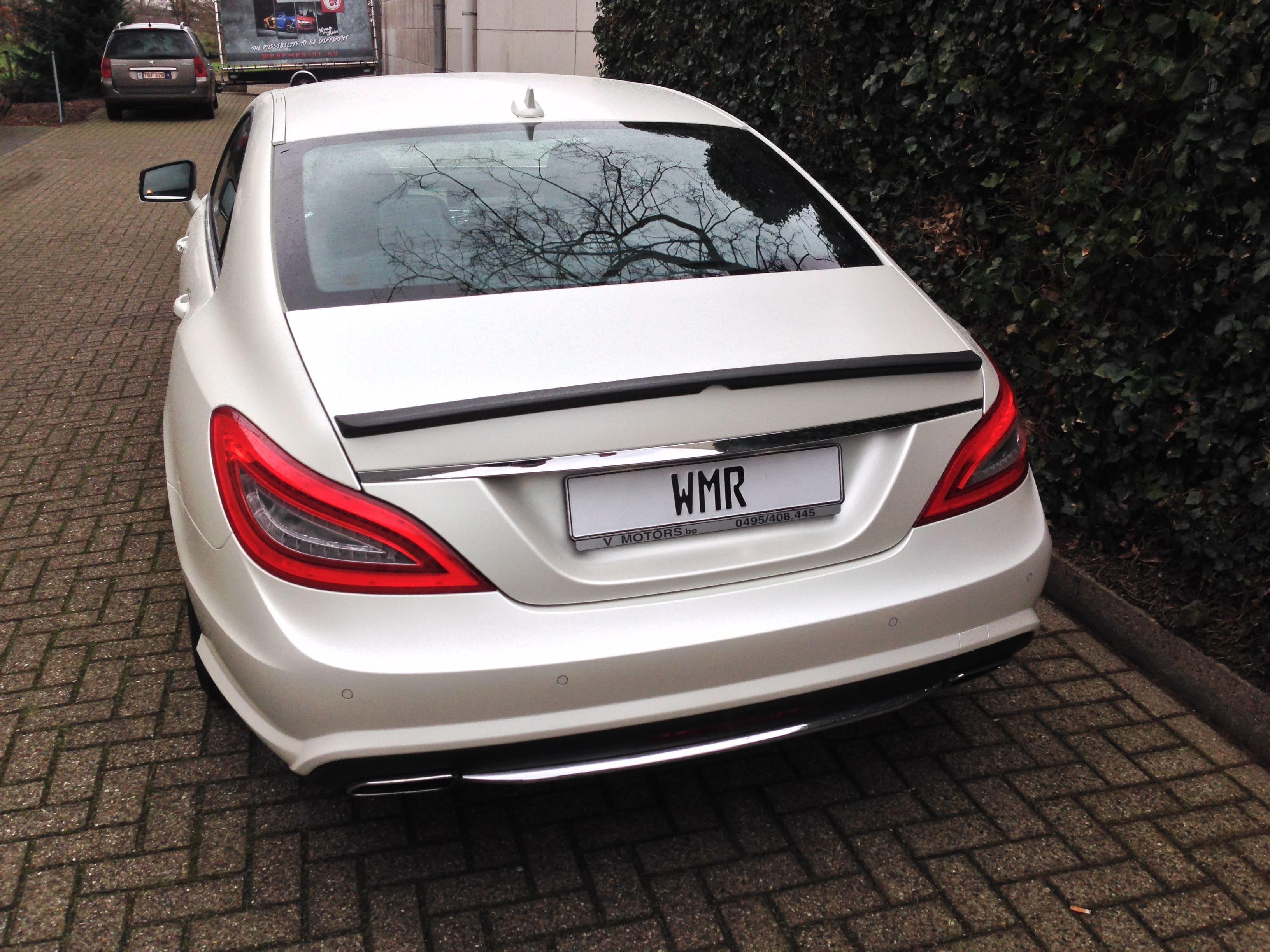 Mercedes CLS met White Satin Pearl Wrap, Carwrapping door Wrapmyride.nu Foto-nr:6211, ©2021