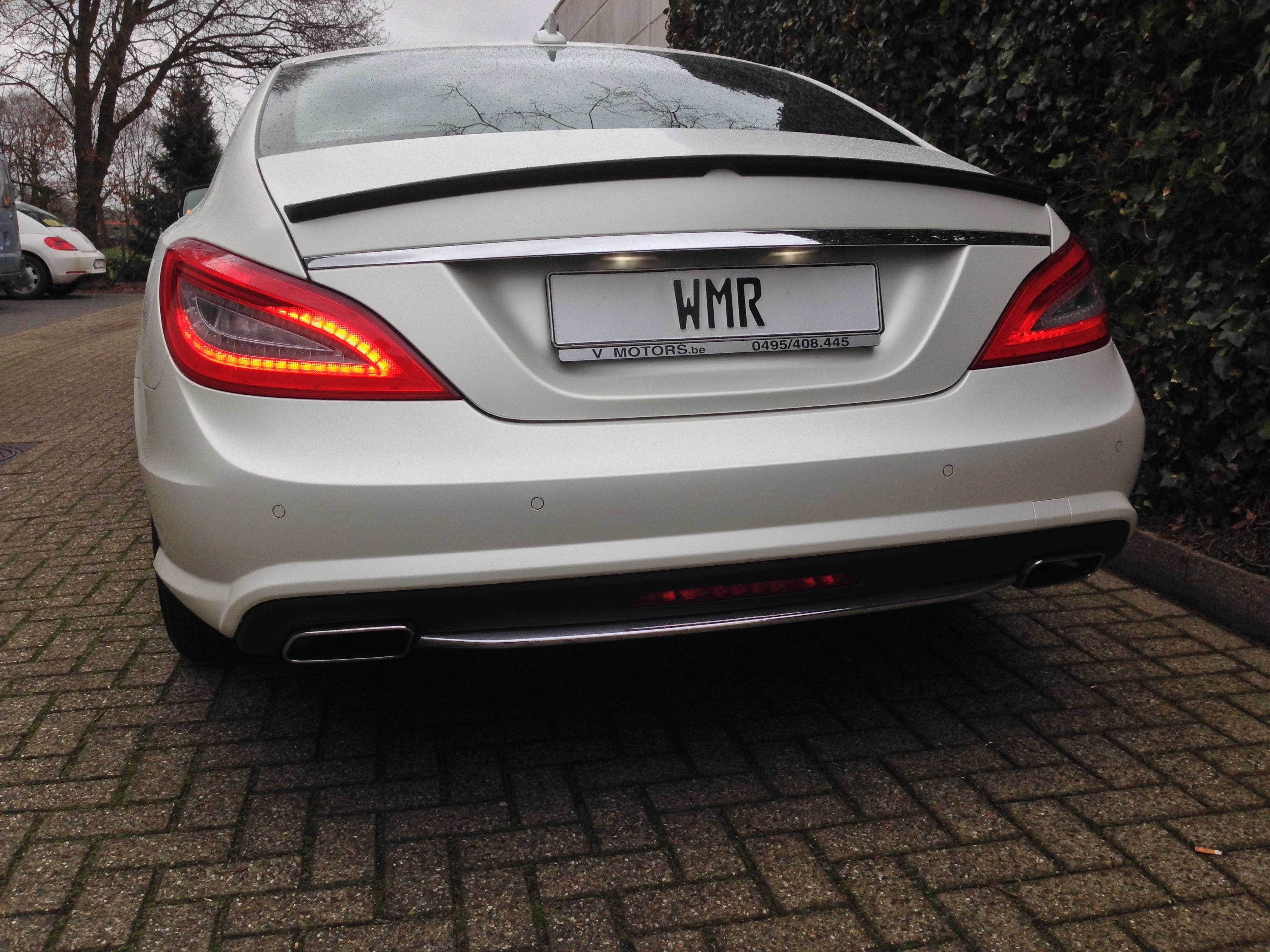 Mercedes CLS met White Satin Pearl Wrap, Carwrapping door Wrapmyride.nu Foto-nr:6212, ©2021