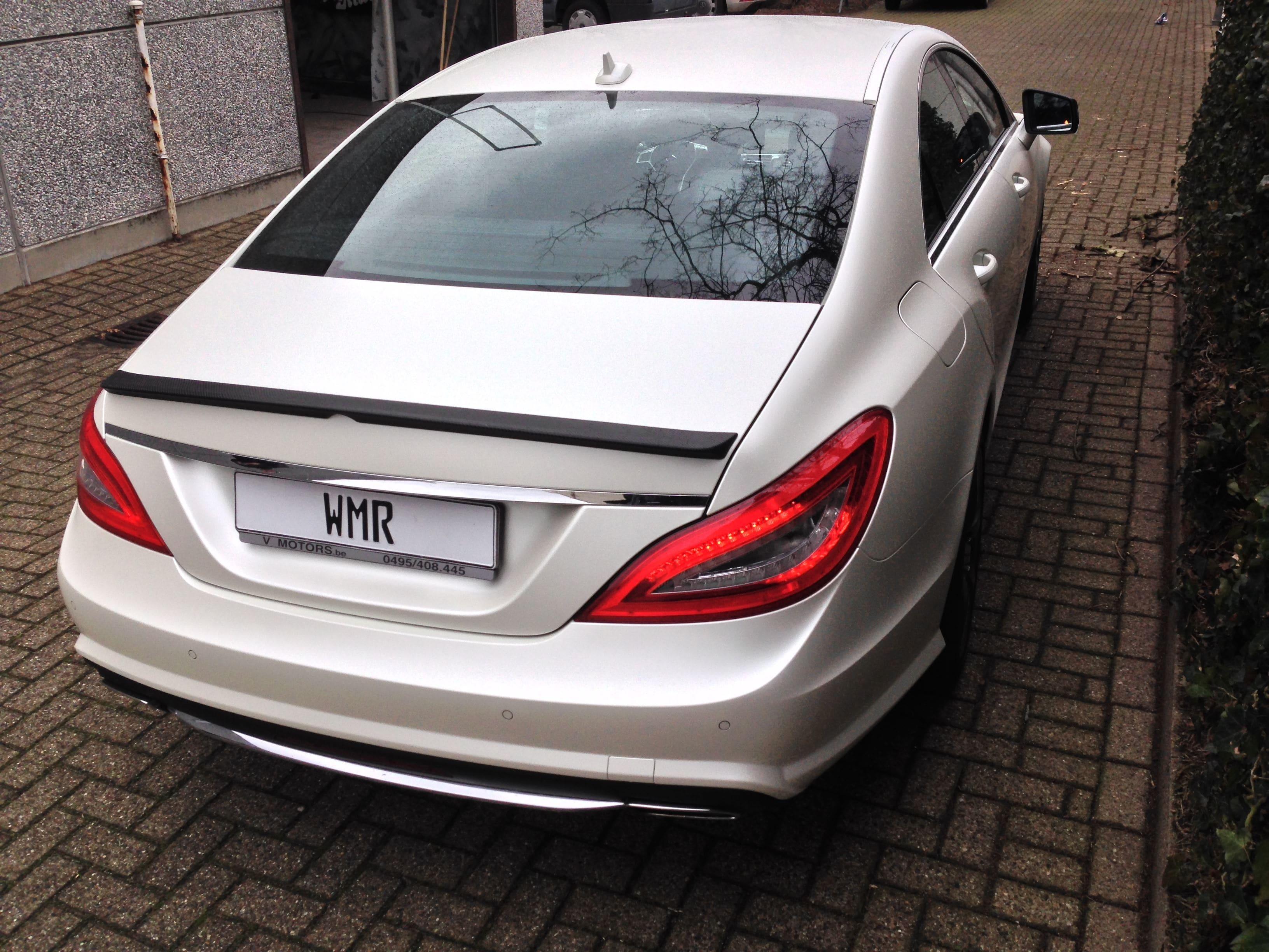 Mercedes CLS met White Satin Pearl Wrap, Carwrapping door Wrapmyride.nu Foto-nr:6213, ©2021