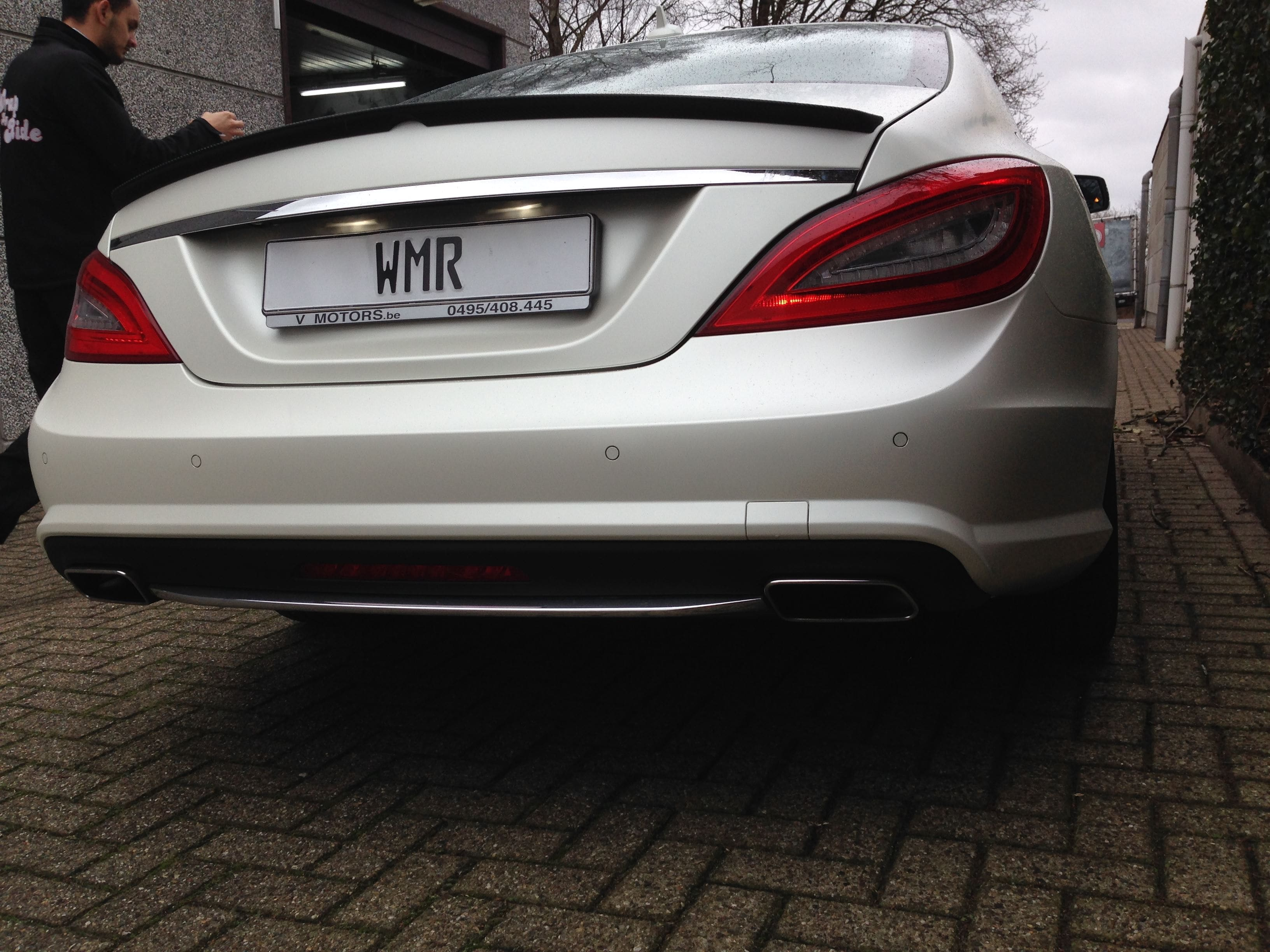 Mercedes CLS met White Satin Pearl Wrap, Carwrapping door Wrapmyride.nu Foto-nr:6215, ©2020