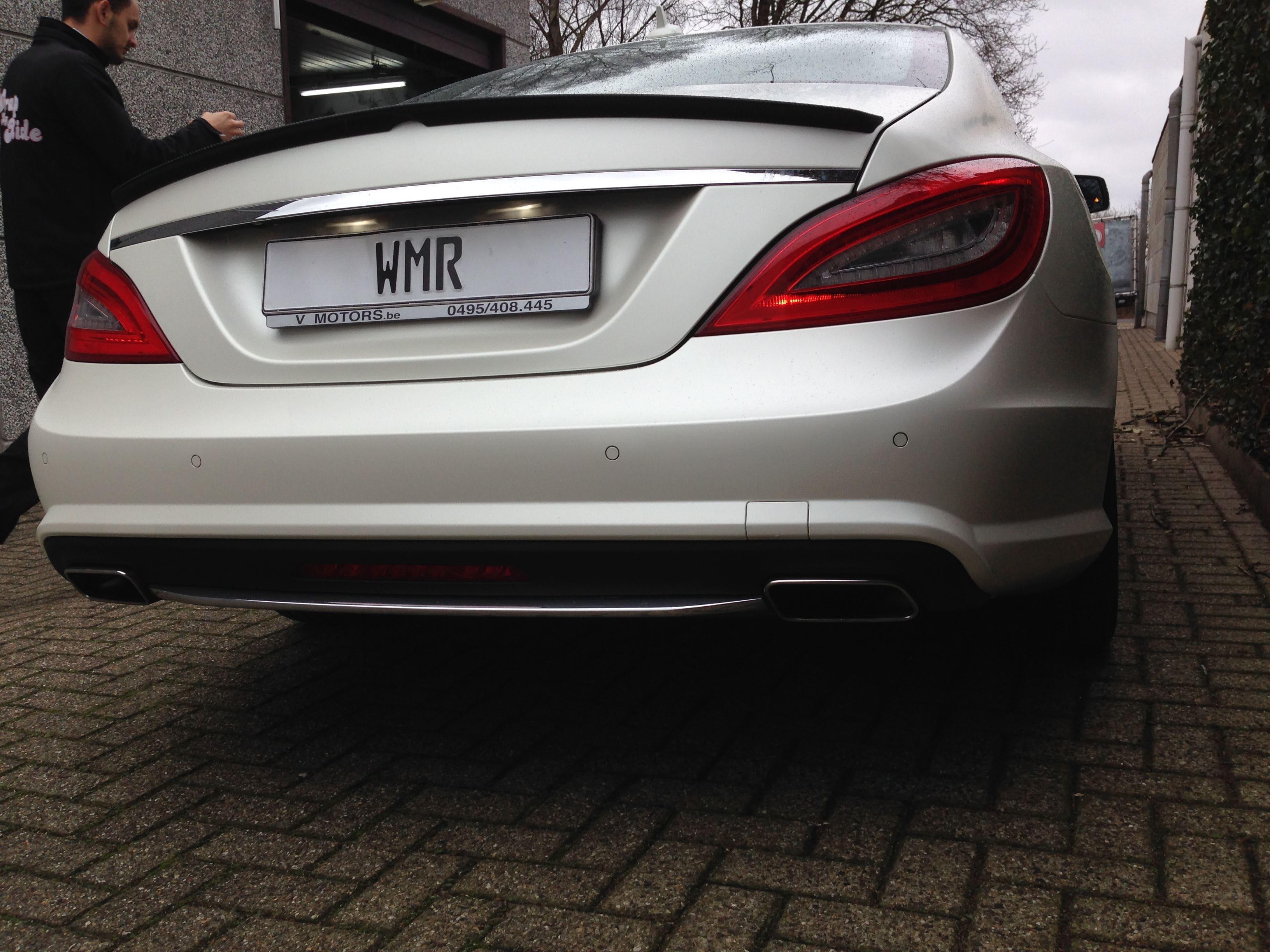 Mercedes CLS met White Satin Pearl Wrap, Carwrapping door Wrapmyride.nu Foto-nr:6215, ©2021