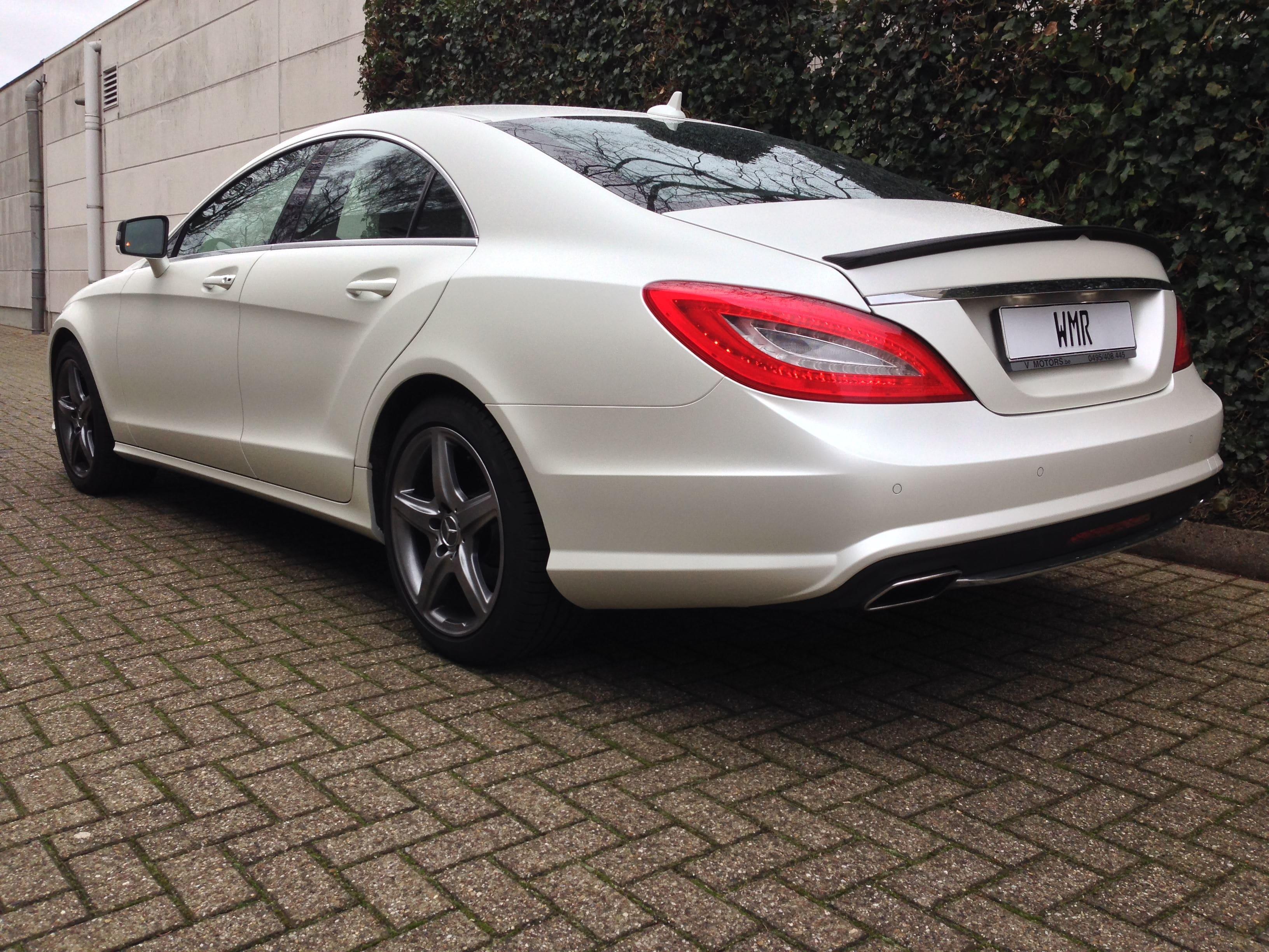 Mercedes CLS met White Satin Pearl Wrap, Carwrapping door Wrapmyride.nu Foto-nr:6216, ©2021
