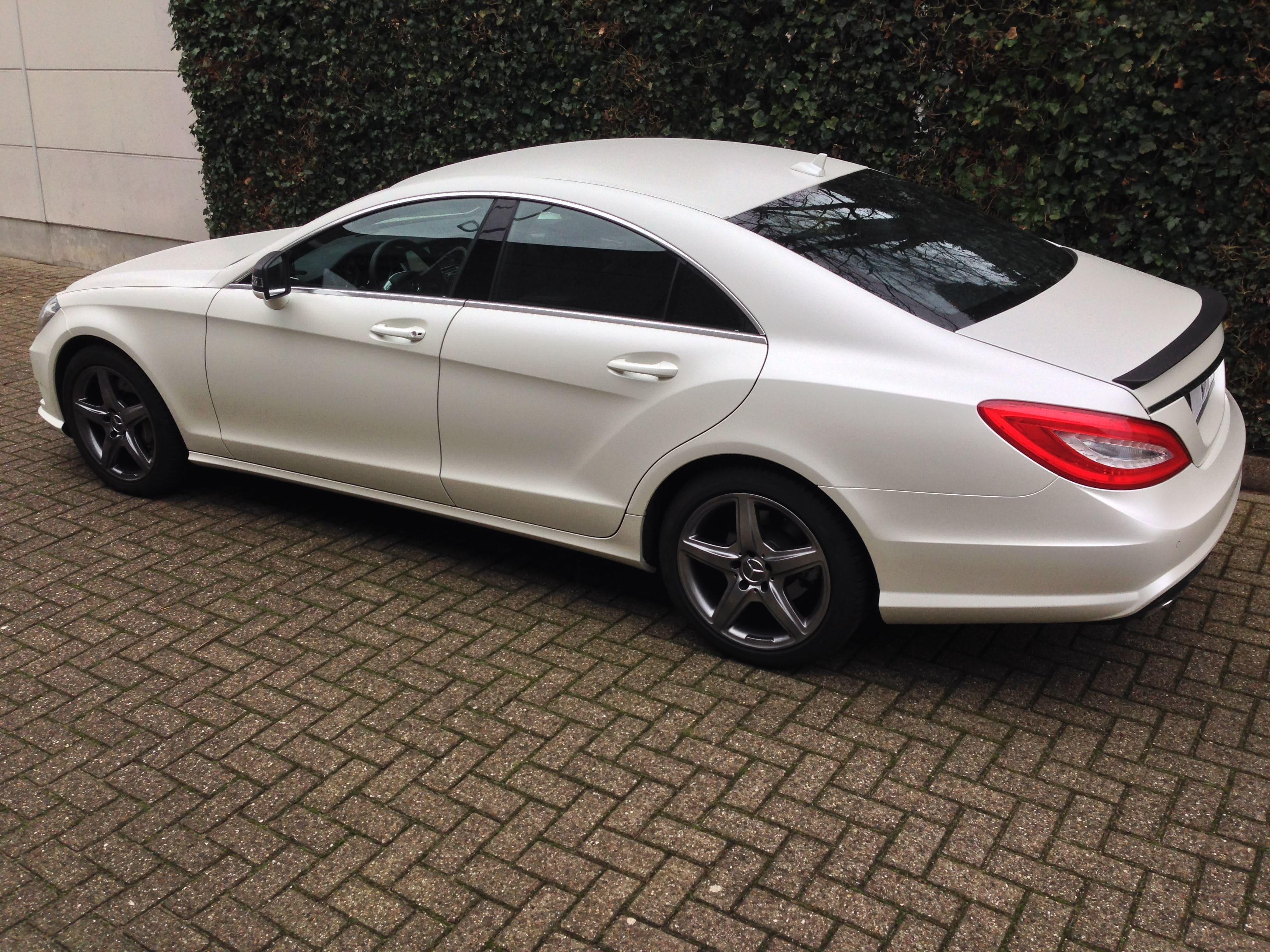 Mercedes CLS met White Satin Pearl Wrap, Carwrapping door Wrapmyride.nu Foto-nr:6217, ©2021
