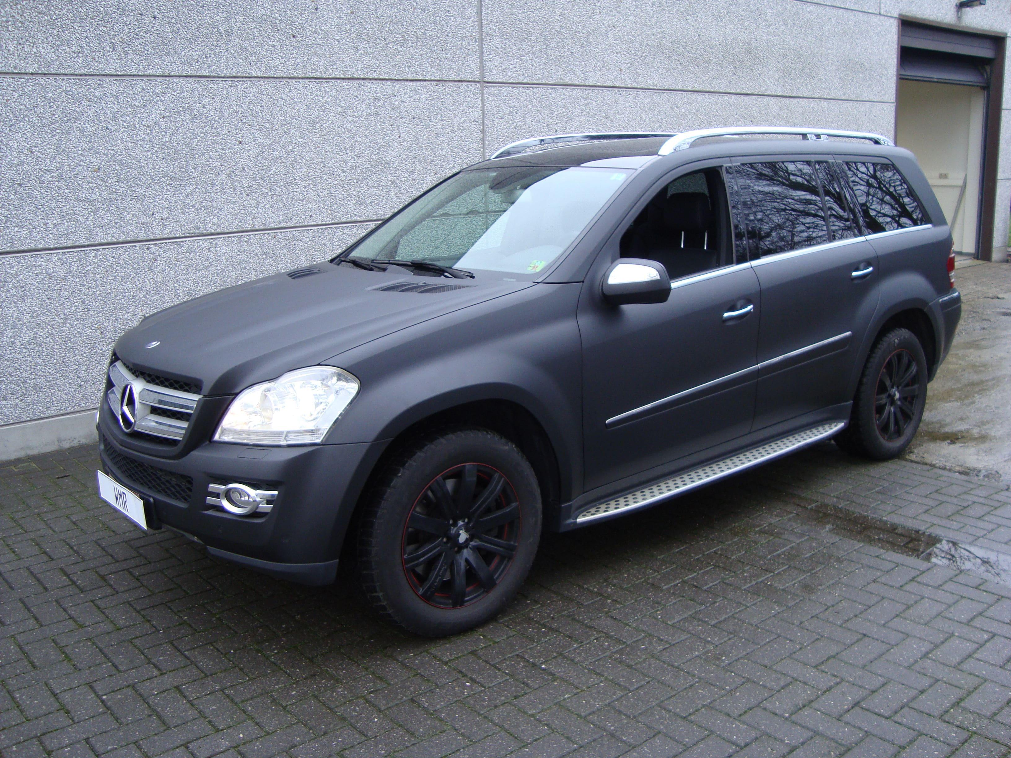 Mercedes GL met Mat Zwarte Wrap, Carwrapping door Wrapmyride.nu Foto-nr:6278, ©2020