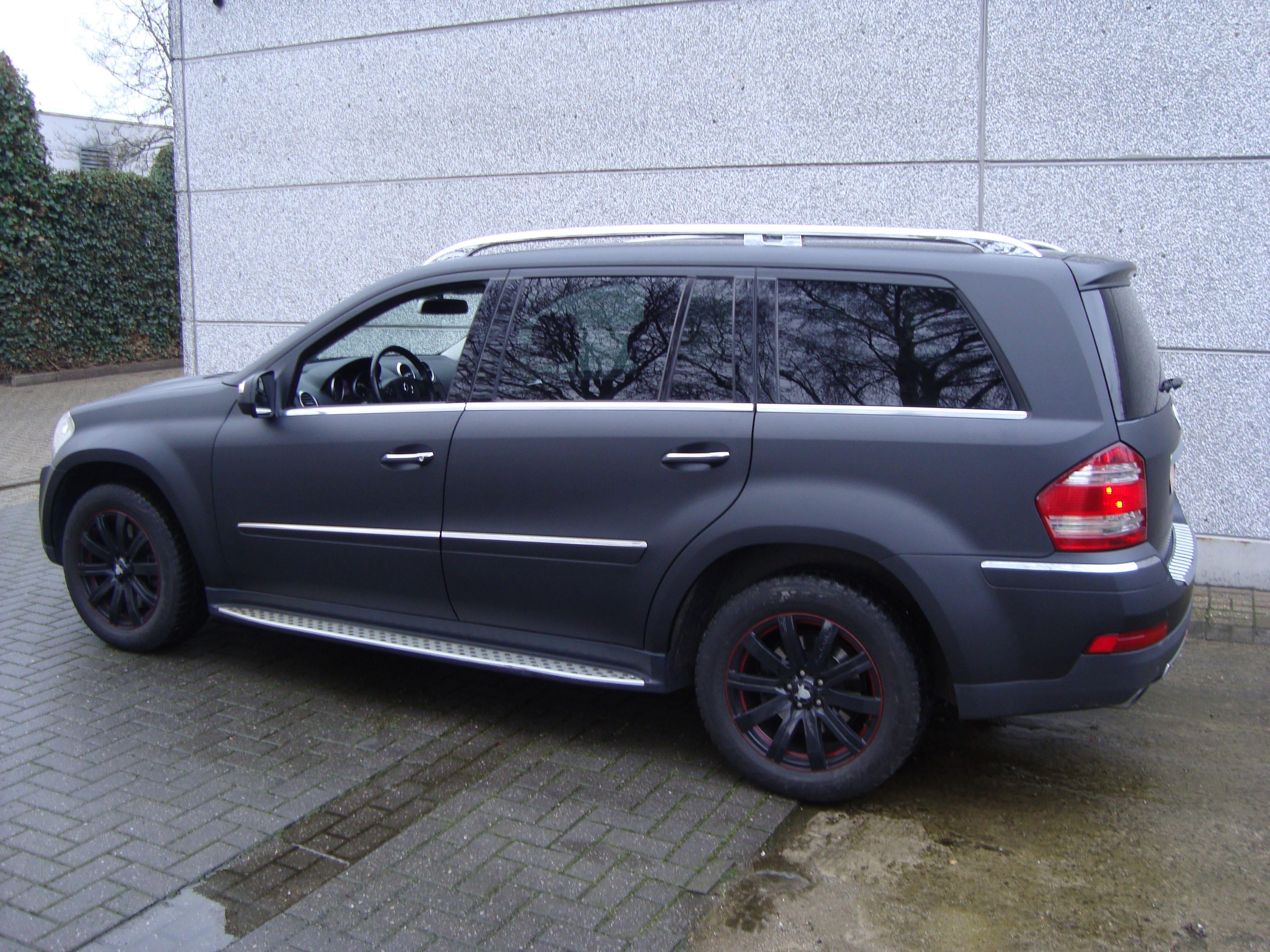 Mercedes GL met Mat Zwarte Wrap, Carwrapping door Wrapmyride.nu Foto-nr:6281, ©2020