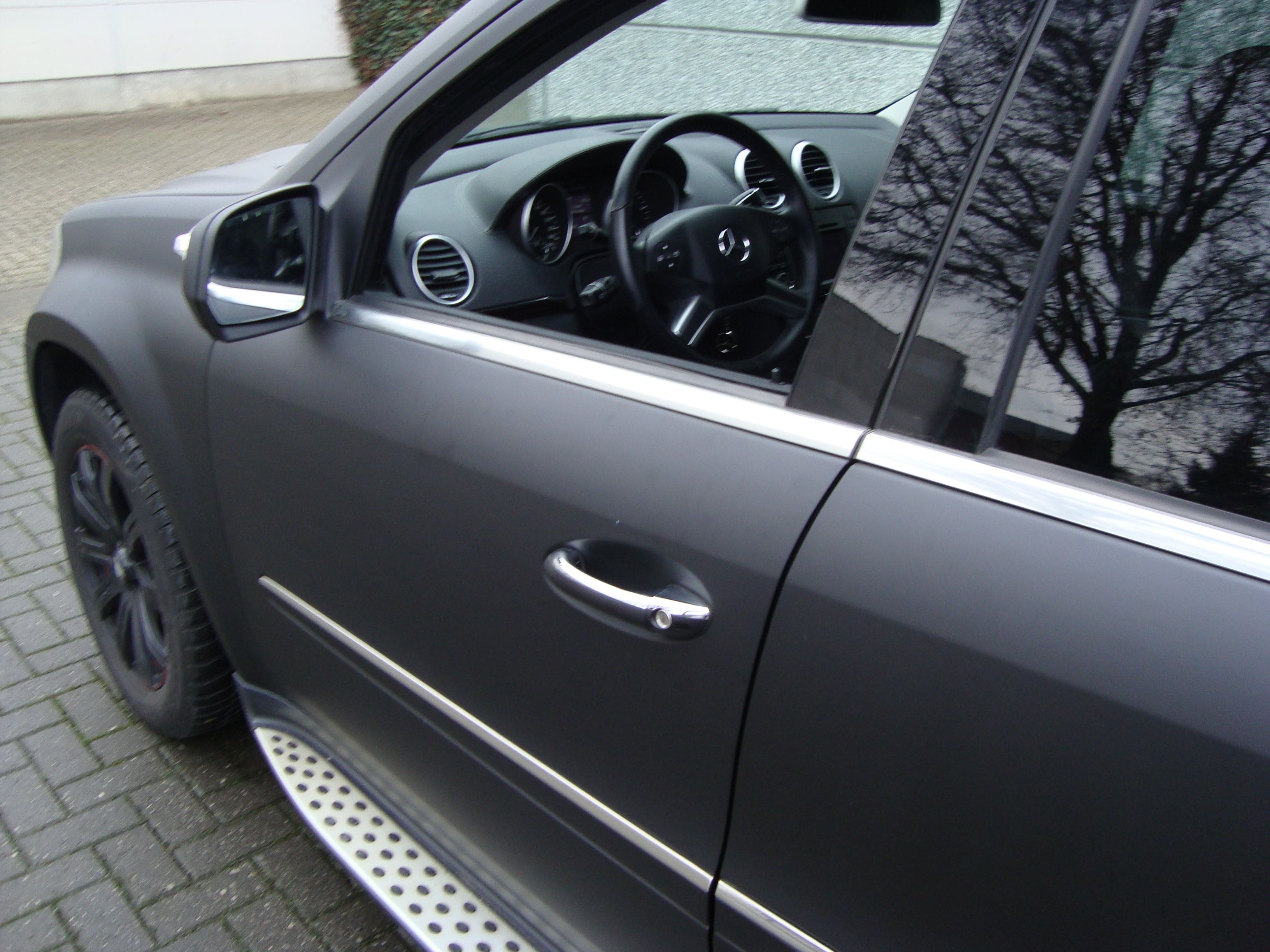 Mercedes GL met Mat Zwarte Wrap, Carwrapping door Wrapmyride.nu Foto-nr:6284, ©2020