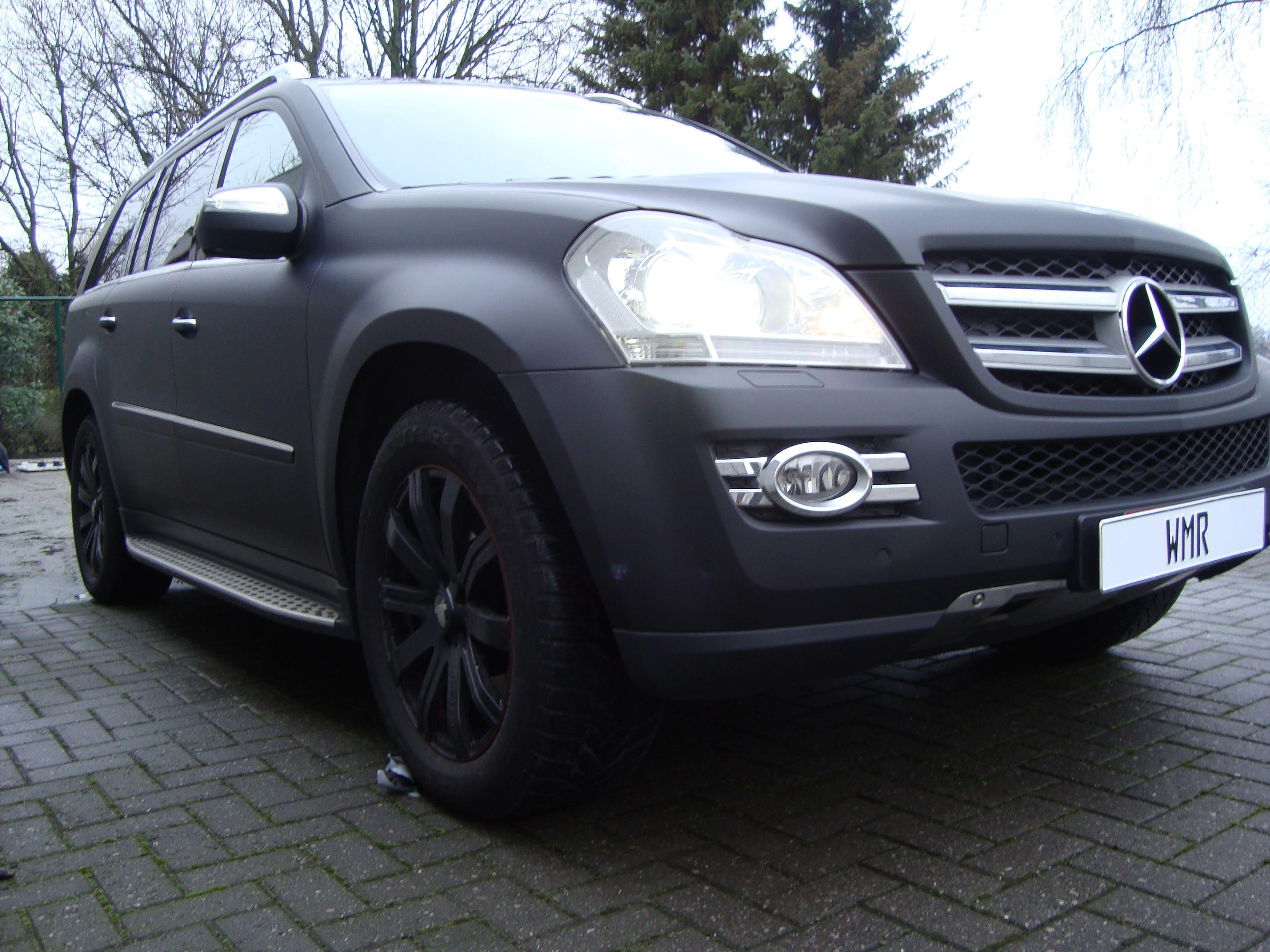 Mercedes GL met Mat Zwarte Wrap, Carwrapping door Wrapmyride.nu Foto-nr:6286, ©2020