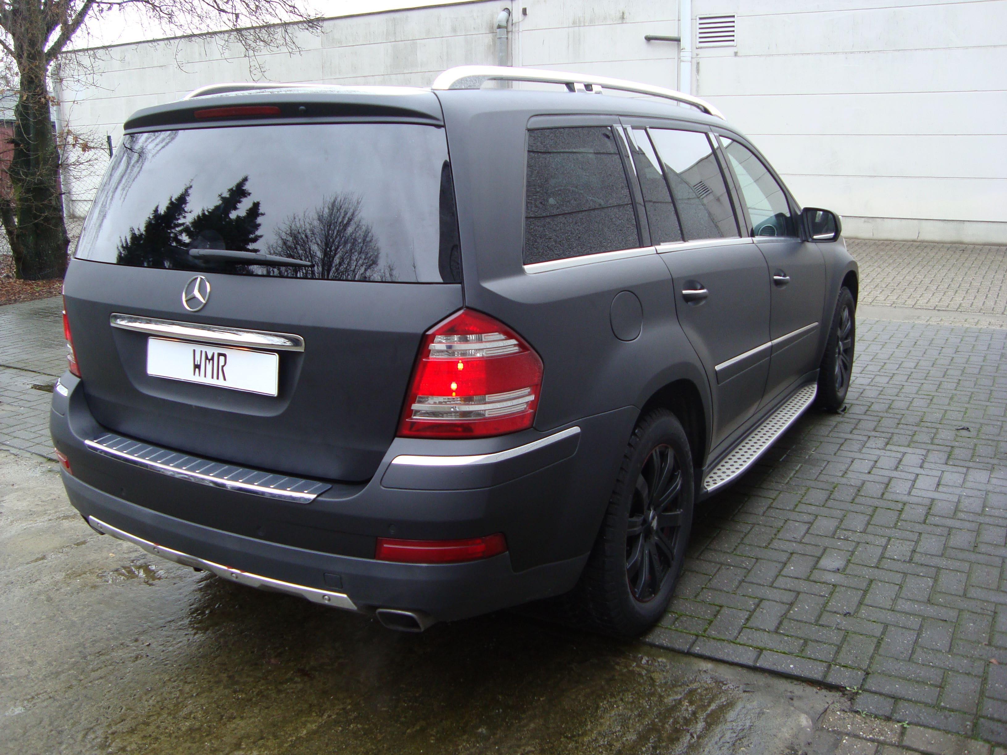 Mercedes GL met Mat Zwarte Wrap, Carwrapping door Wrapmyride.nu Foto-nr:6290, ©2020