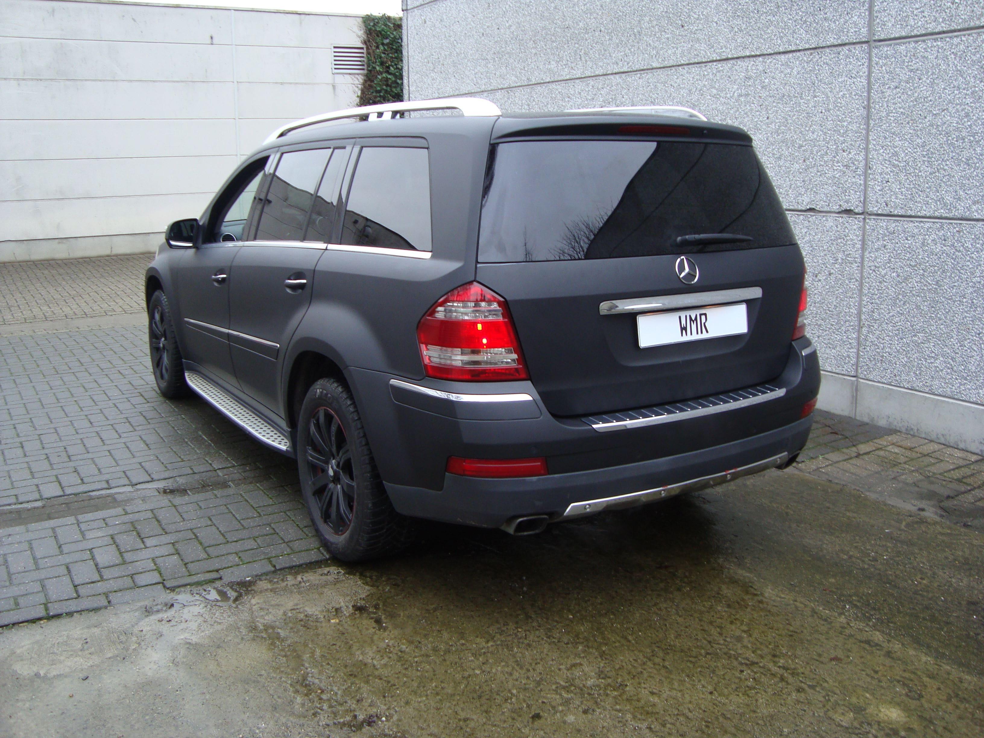 Mercedes GL met Mat Zwarte Wrap, Carwrapping door Wrapmyride.nu Foto-nr:6293, ©2020
