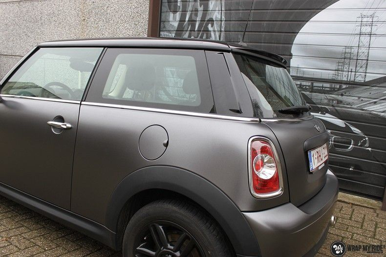 mini cooper one satin dark grey, Carwrapping door Wrapmyride.nu Foto-nr:10453, ©2021