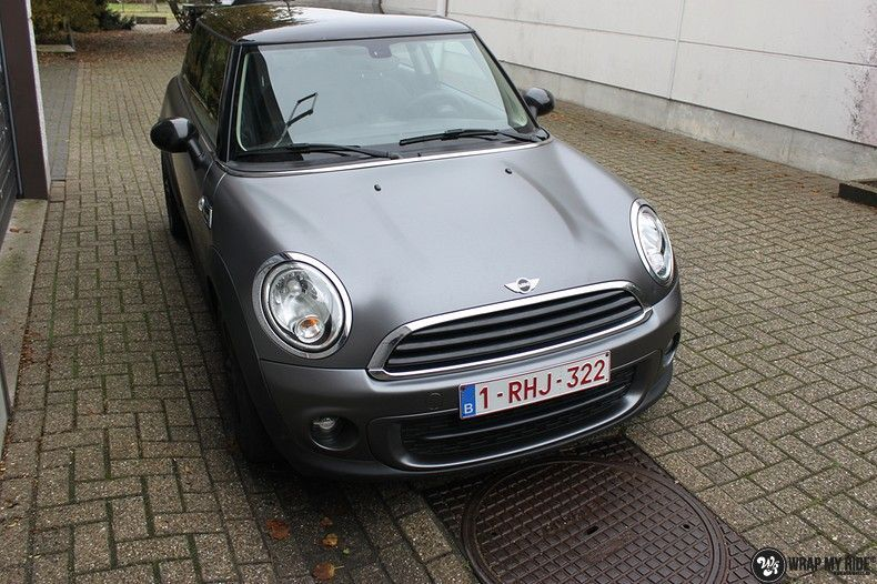 mini cooper one satin dark grey, Carwrapping door Wrapmyride.nu Foto-nr:10450, ©2021
