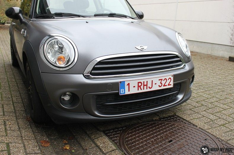 mini cooper one satin dark grey, Carwrapping door Wrapmyride.nu Foto-nr:10449, ©2021