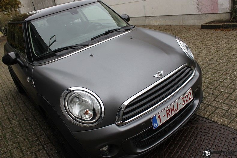 mini cooper one satin dark grey, Carwrapping door Wrapmyride.nu Foto-nr:10448, ©2021