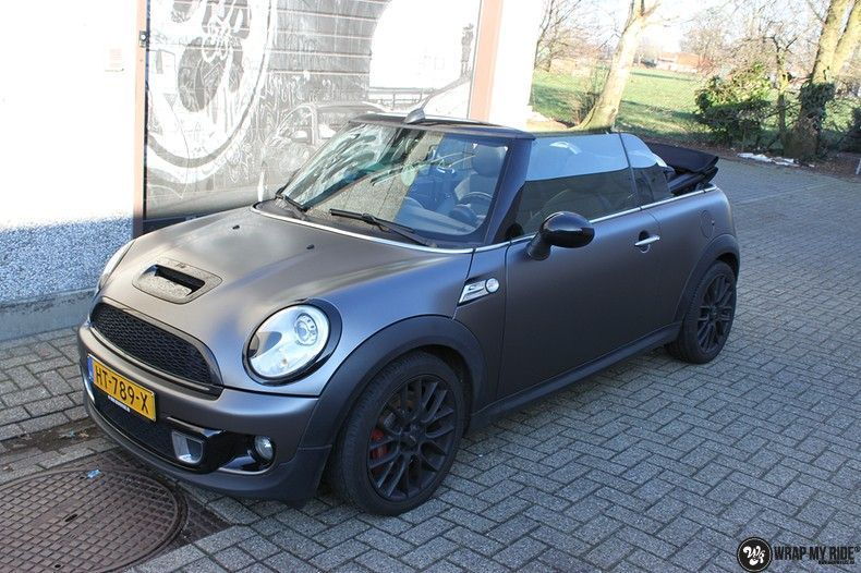 Mini cooper S cabrio Satin Dark Grey, Carwrapping door Wrapmyride.nu Foto-nr:10713, ©2019