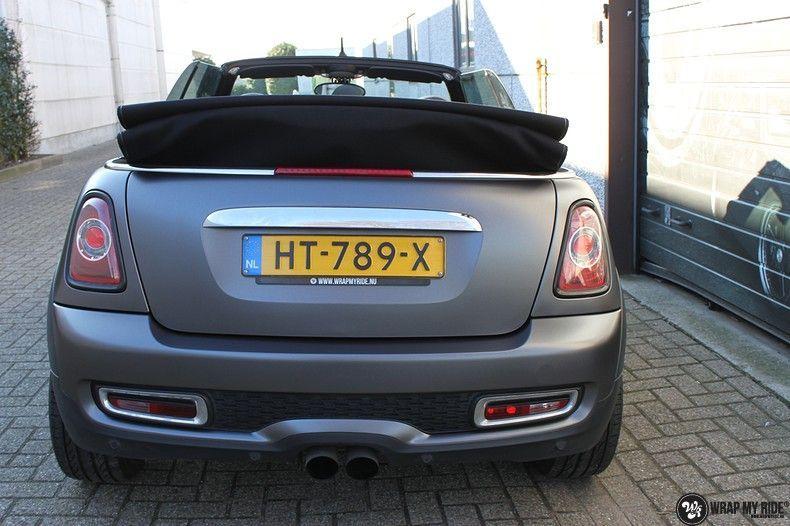 mini cooper s cabrio satin dark grey, Carwrapping door Wrapmyride.nu Foto-nr:10850, ©2020