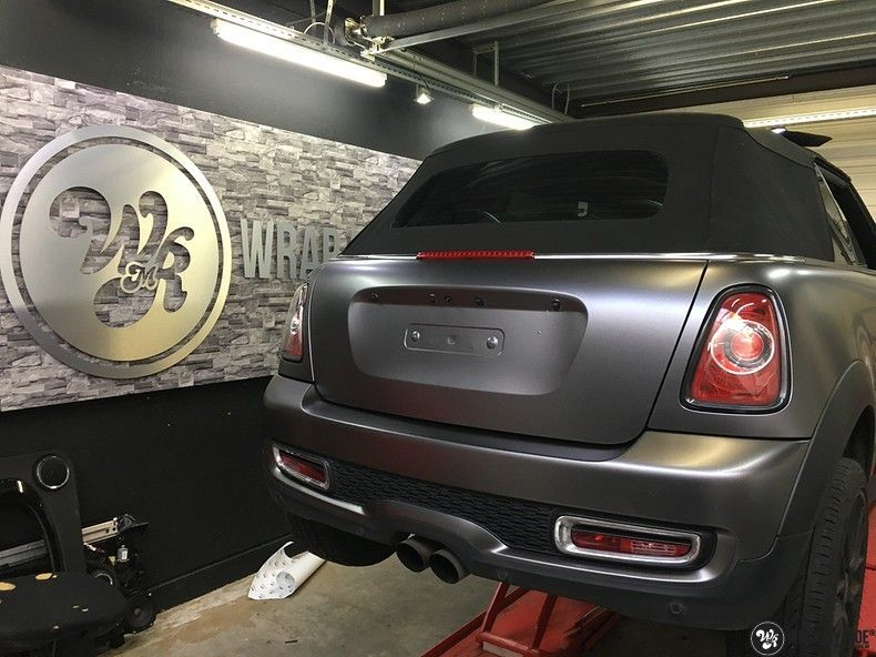 Mini cooper S cabrio Satin Dark Grey, Carwrapping door Wrapmyride.nu Foto-nr:10716, ©2020