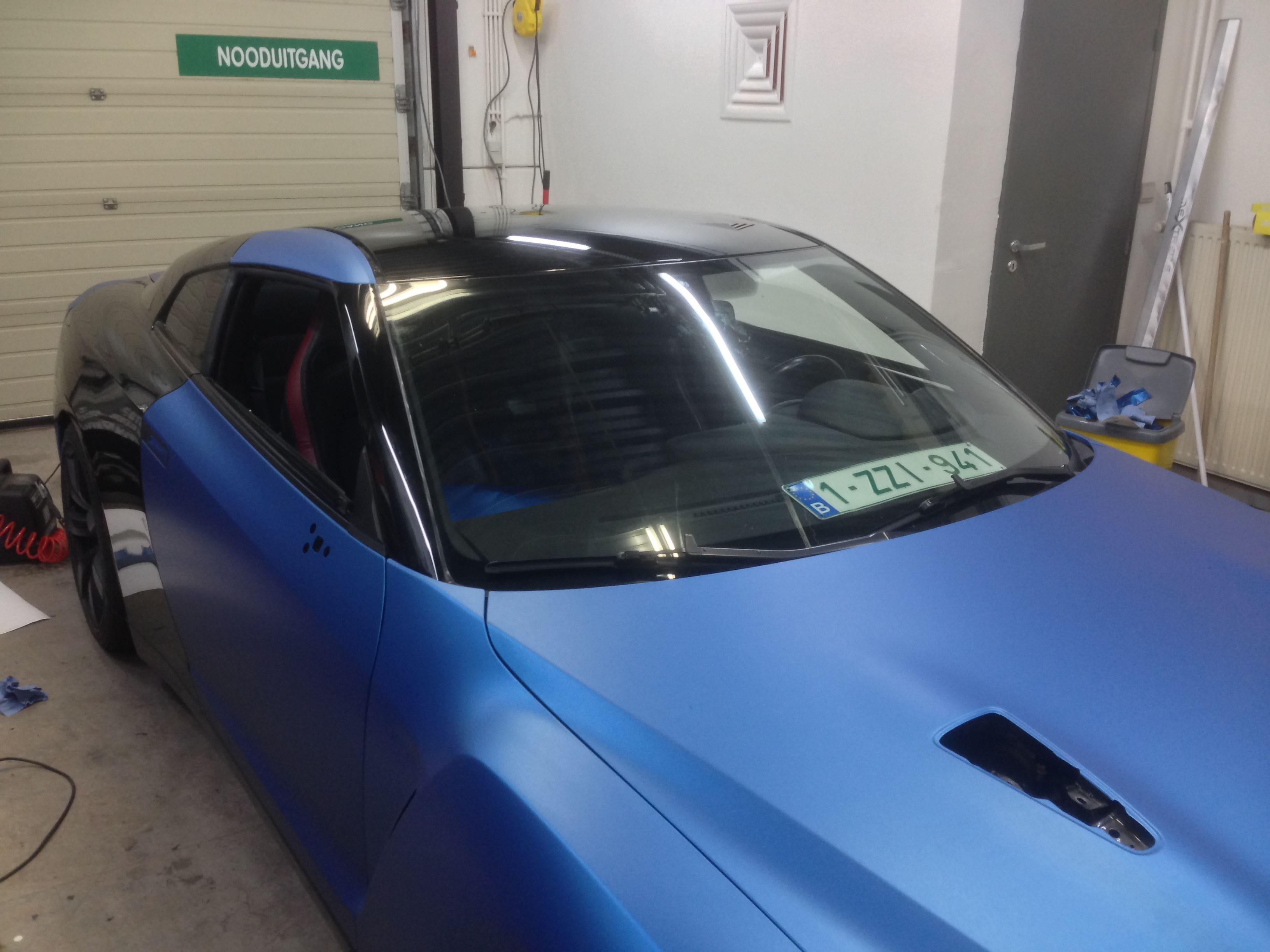 Nissan GT-R in Mat Blauwe Wrap, Carwrapping door Wrapmyride.nu Foto-nr:6522, ©2021