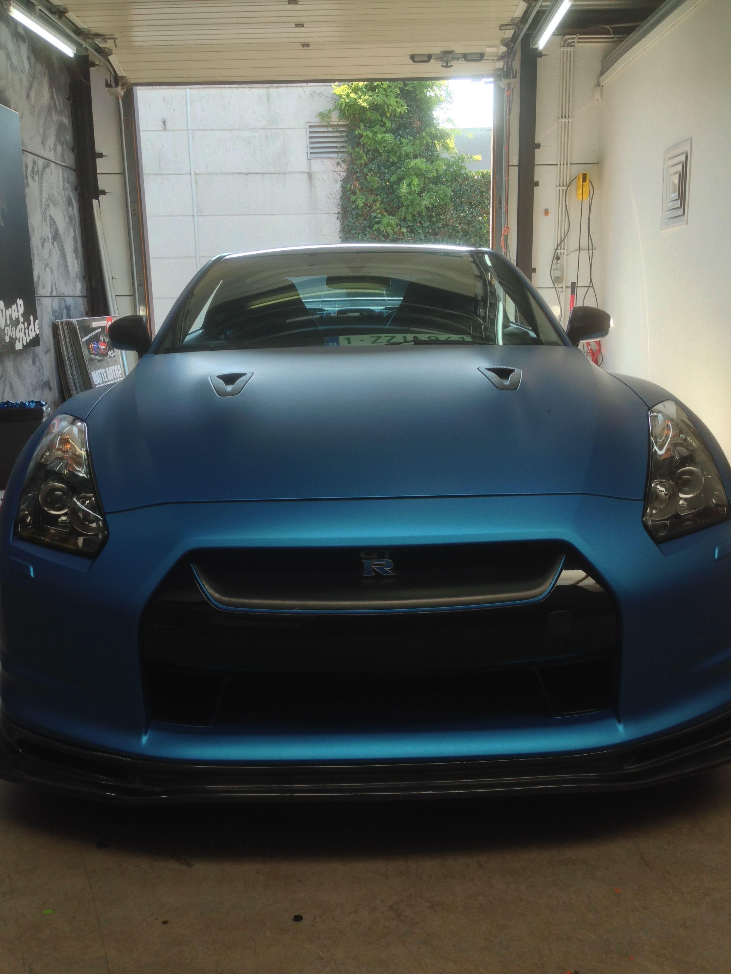 Nissan GT-R in Mat Blauwe Wrap, Carwrapping door Wrapmyride.nu Foto-nr:6524, ©2021