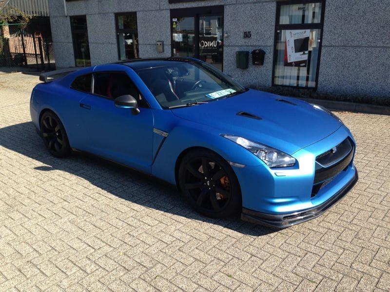 Nissan GT-R in Mat Blauwe Wrap, Carwrapping door Wrapmyride.nu Foto-nr:6529, ©2021