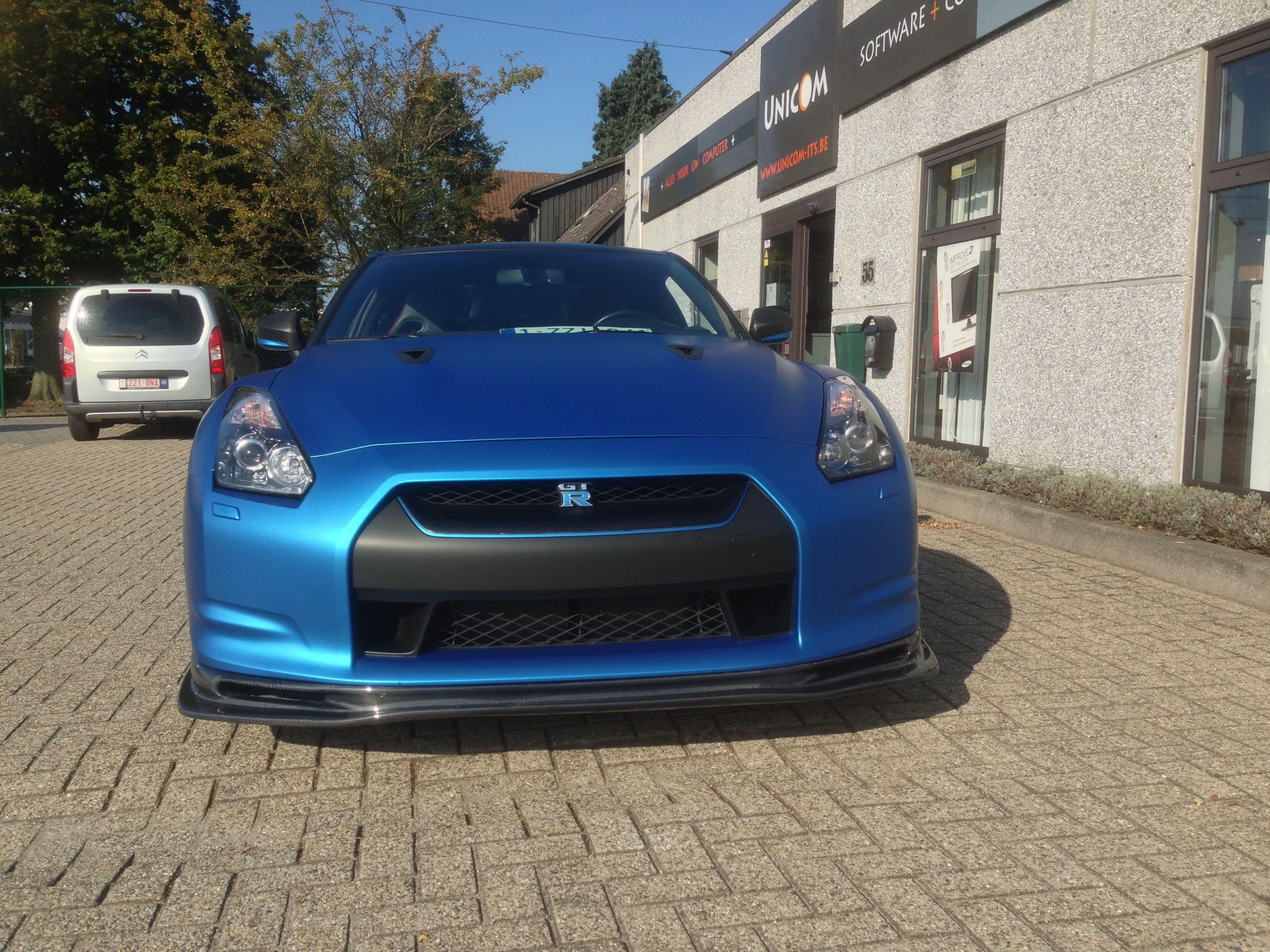 Nissan GT-R in Mat Blauwe Wrap, Carwrapping door Wrapmyride.nu Foto-nr:6533, ©2021