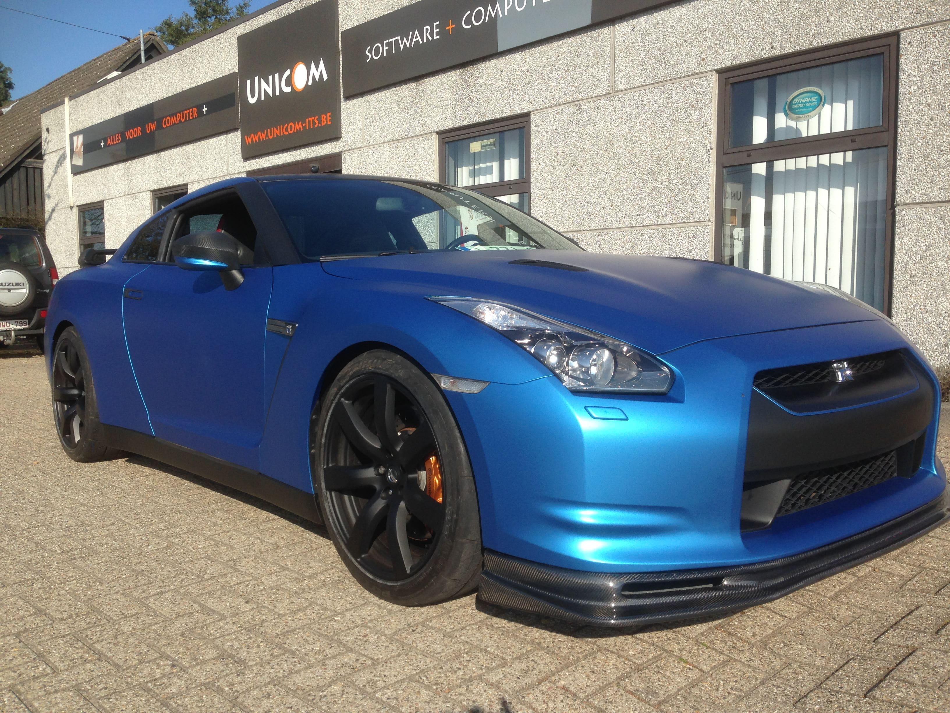 Nissan GT-R in Mat Blauwe Wrap, Carwrapping door Wrapmyride.nu Foto-nr:6534, ©2020