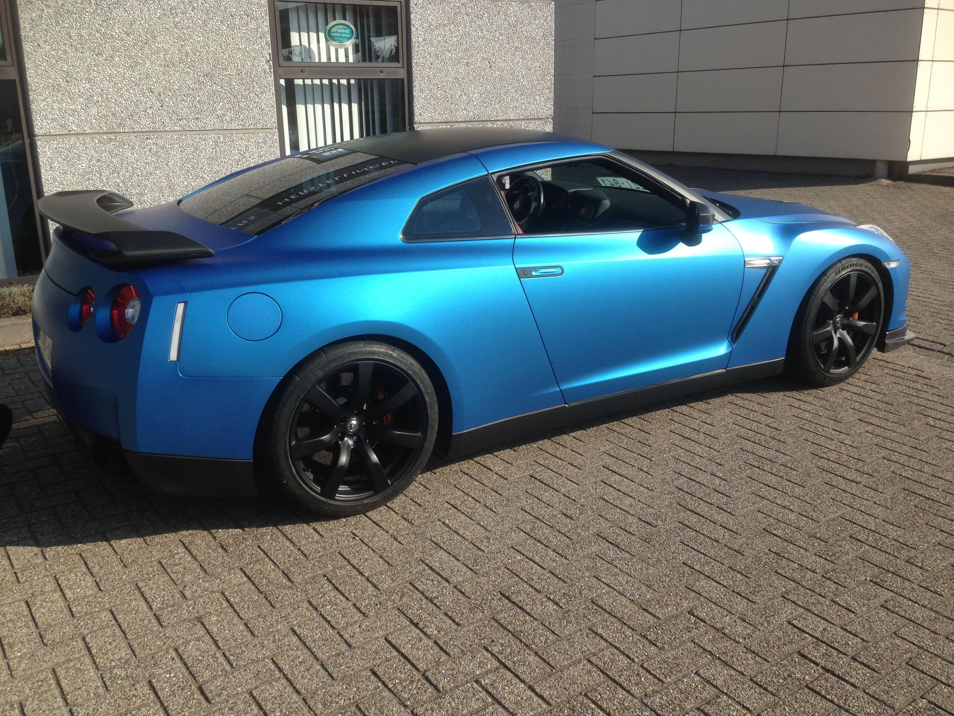 Nissan GT-R in Mat Blauwe Wrap, Carwrapping door Wrapmyride.nu Foto-nr:6536, ©2021
