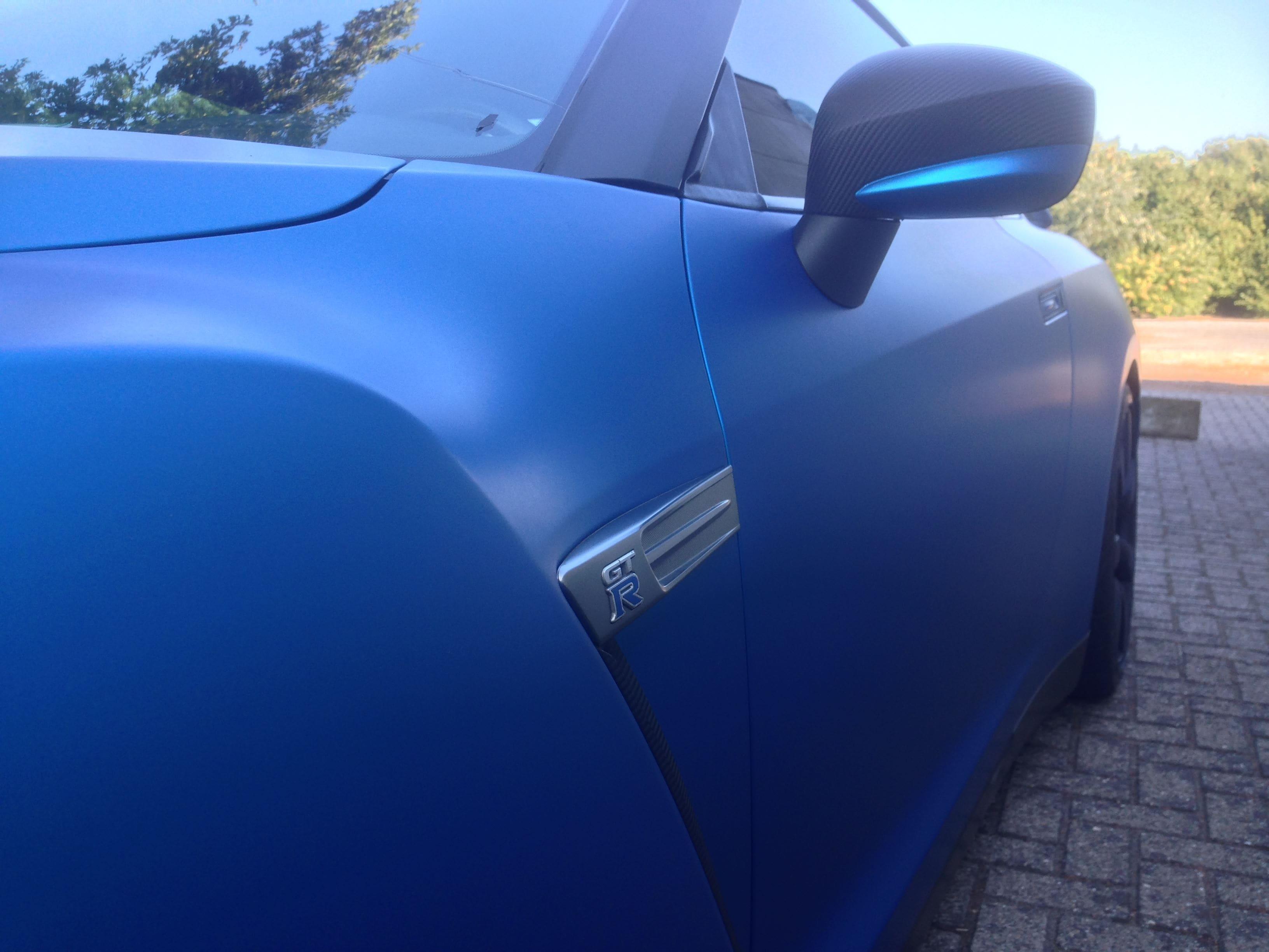 Nissan GT-R in Mat Blauwe Wrap, Carwrapping door Wrapmyride.nu Foto-nr:6539, ©2020