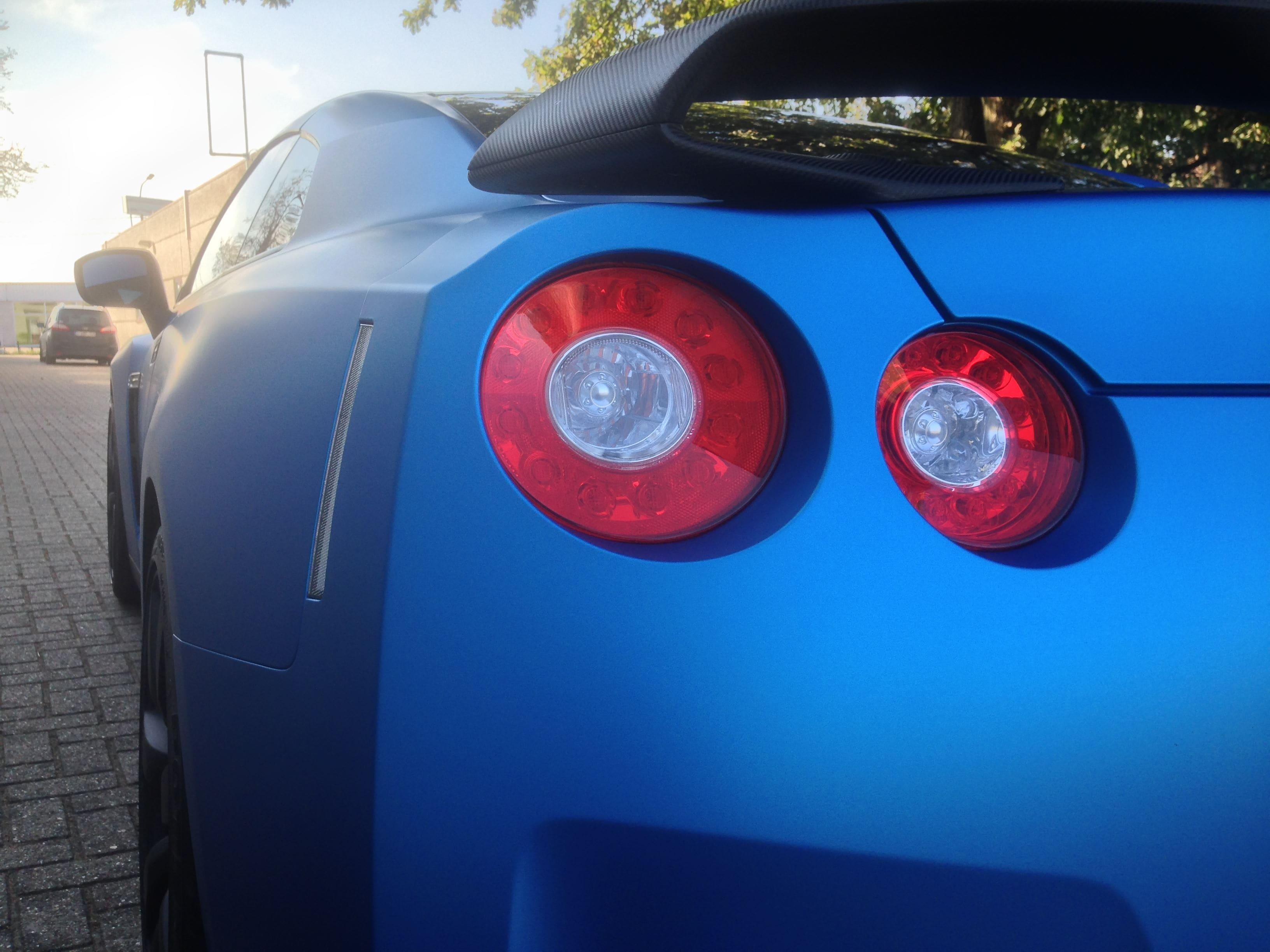 Nissan GT-R in Mat Blauwe Wrap, Carwrapping door Wrapmyride.nu Foto-nr:6540, ©2021