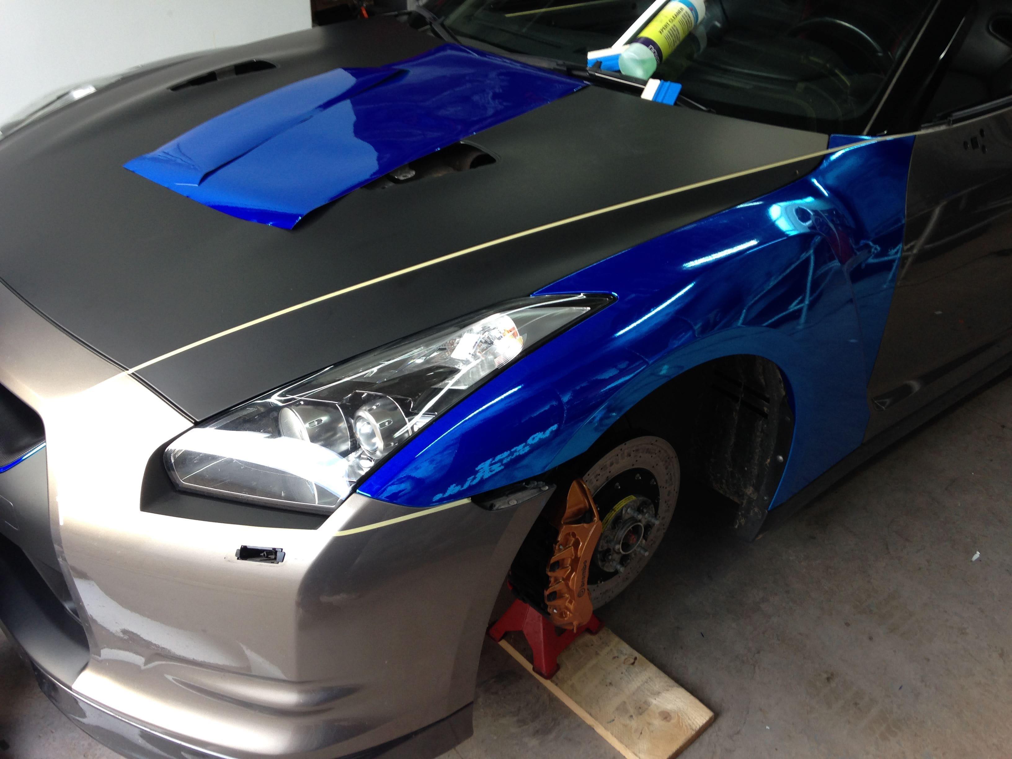 Nissan GT-R met Blue Chrome Wrap, Carwrapping door Wrapmyride.nu Foto-nr:6446, ©2021