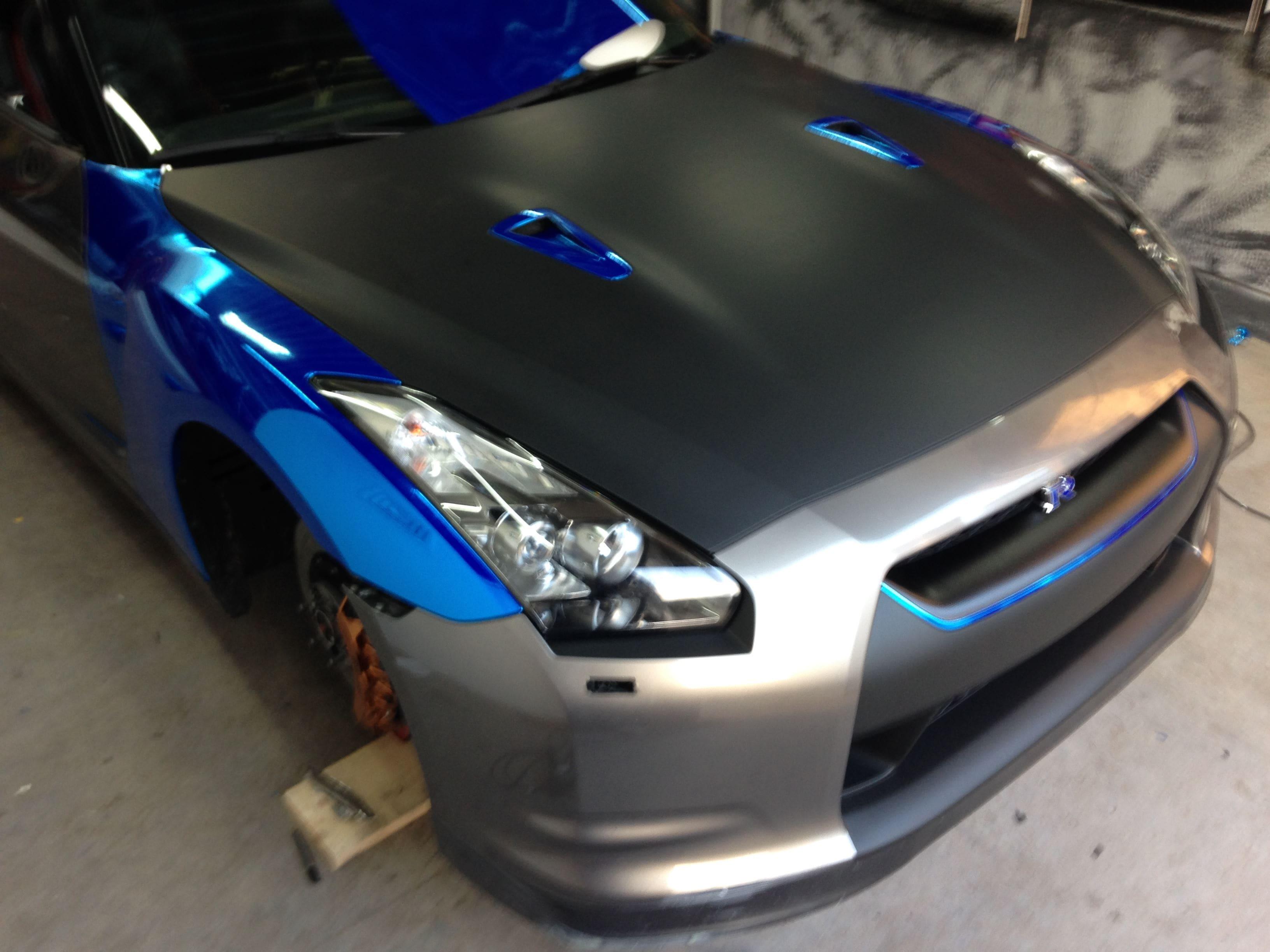 Nissan GT-R met Blue Chrome Wrap, Carwrapping door Wrapmyride.nu Foto-nr:6448, ©2021