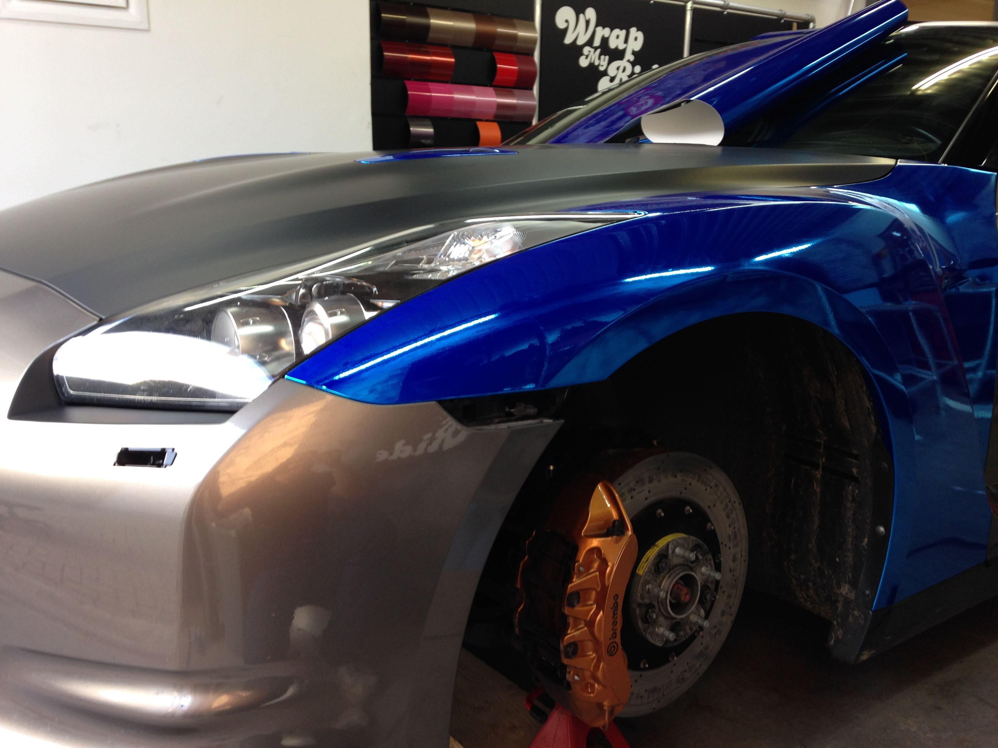 Nissan GT-R met Blue Chrome Wrap, Carwrapping door Wrapmyride.nu Foto-nr:6450, ©2021