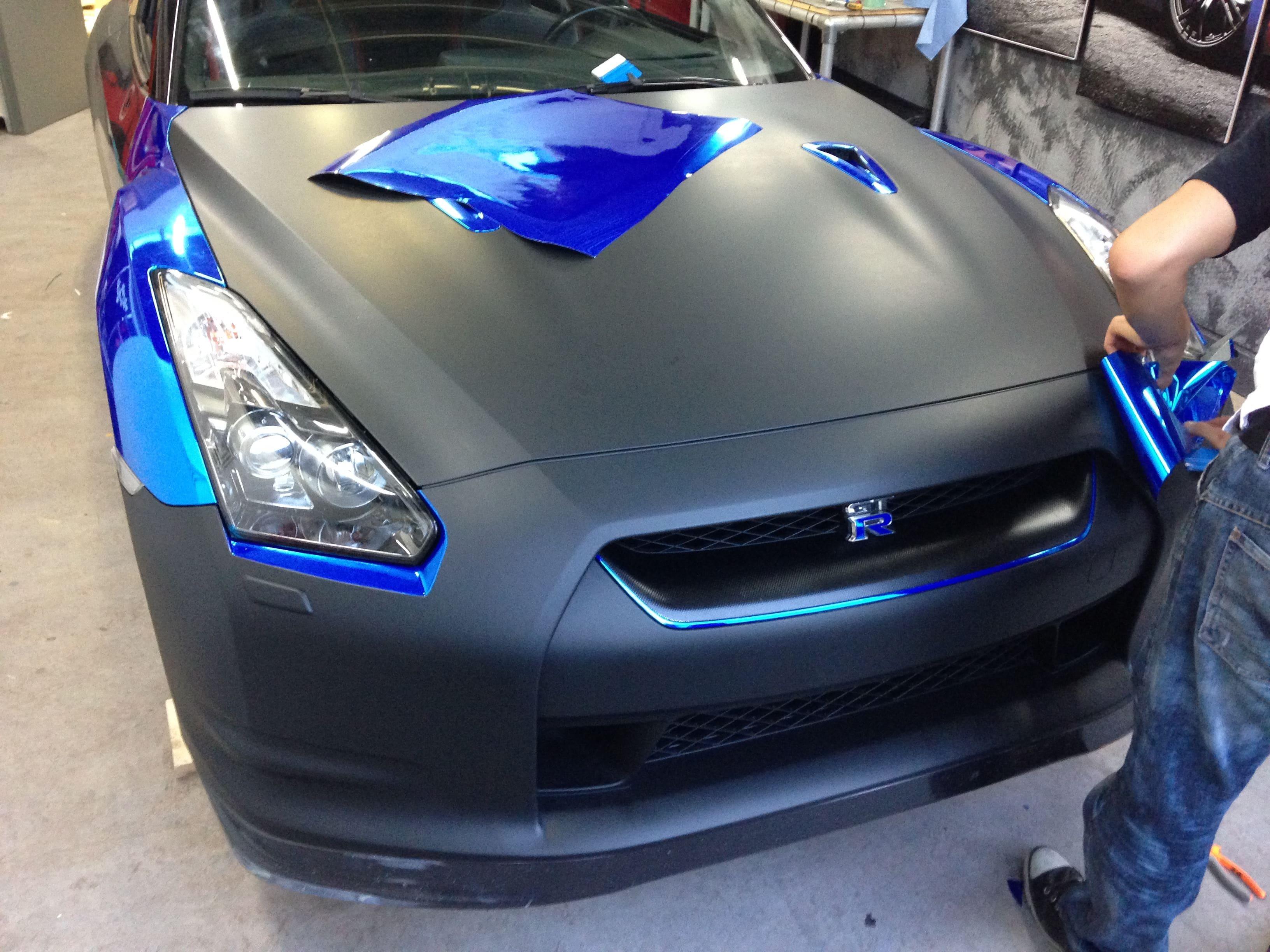 Nissan GT-R met Blue Chrome Wrap, Carwrapping door Wrapmyride.nu Foto-nr:6451, ©2021