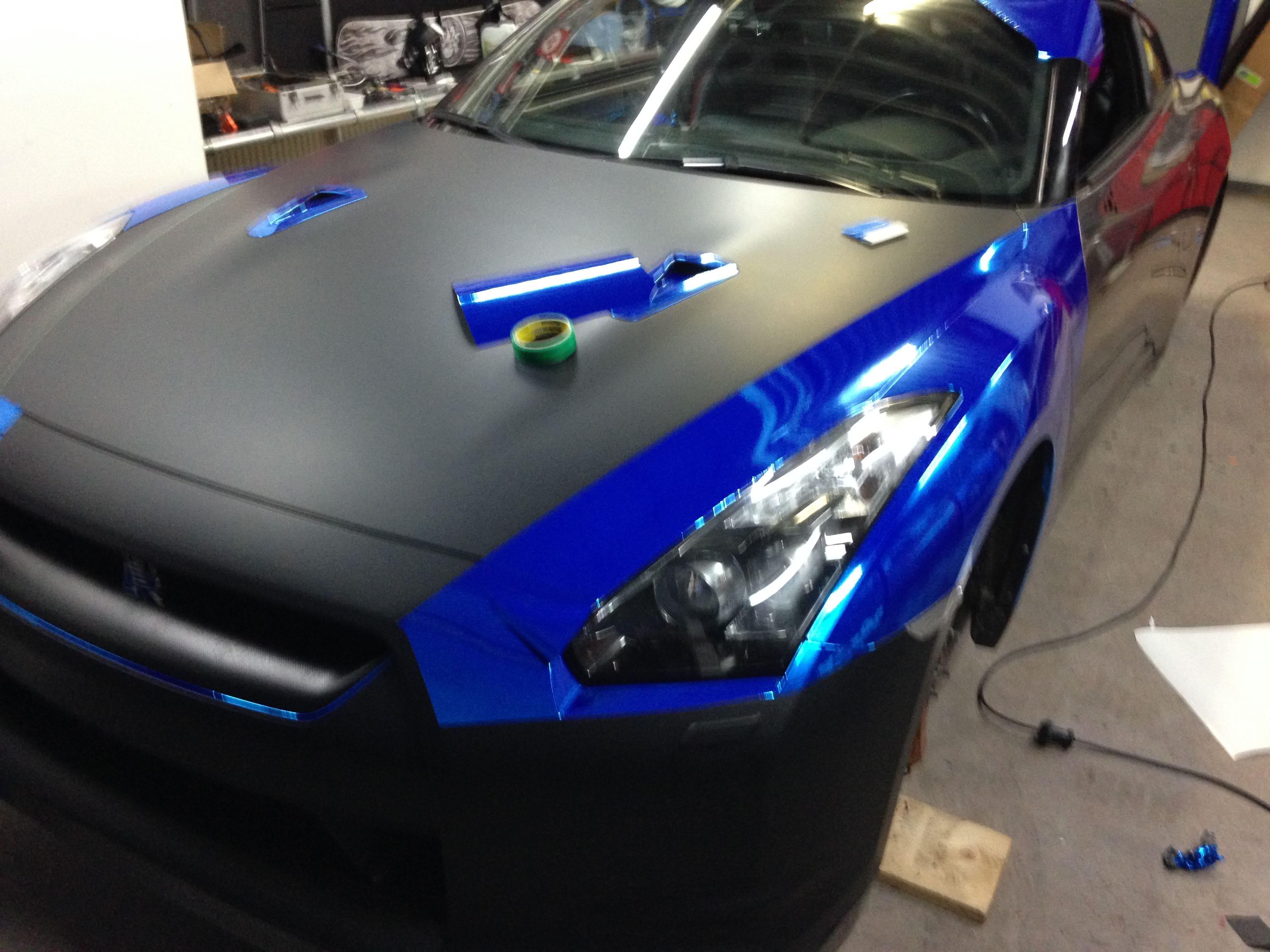 Nissan GT-R met Blue Chrome Wrap, Carwrapping door Wrapmyride.nu Foto-nr:6452, ©2021