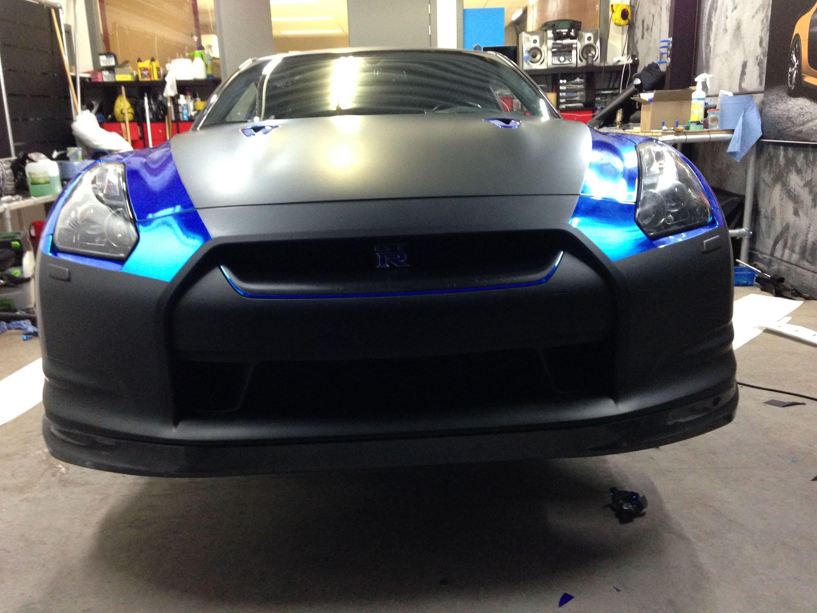 Nissan GT-R met Blue Chrome Wrap, Carwrapping door Wrapmyride.nu Foto-nr:6454, ©2021