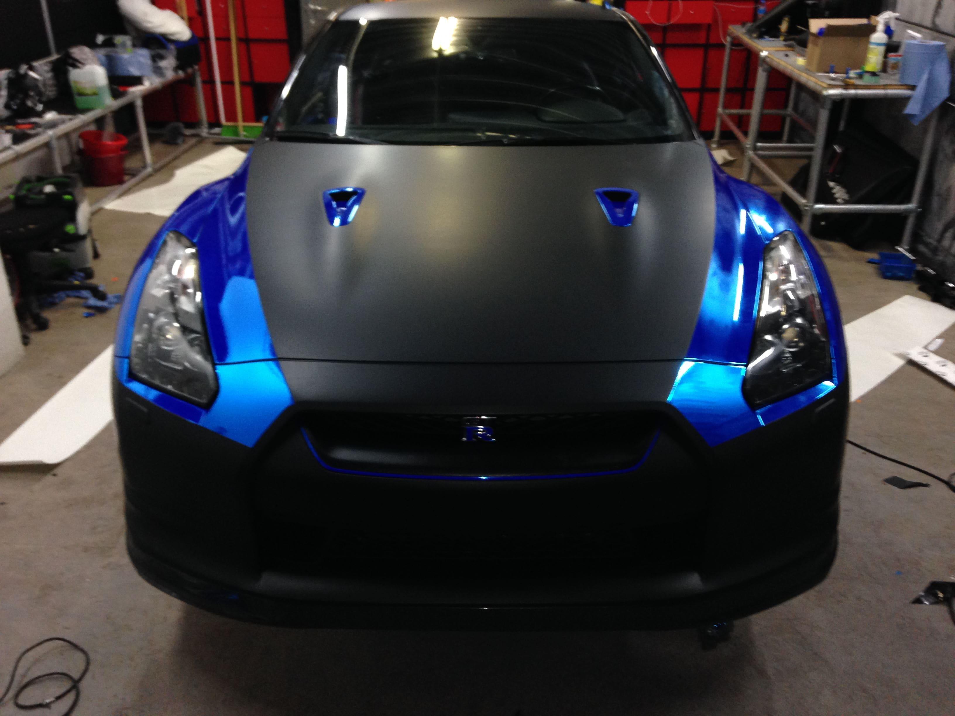 Nissan GT-R met Blue Chrome Wrap, Carwrapping door Wrapmyride.nu Foto-nr:6455, ©2021