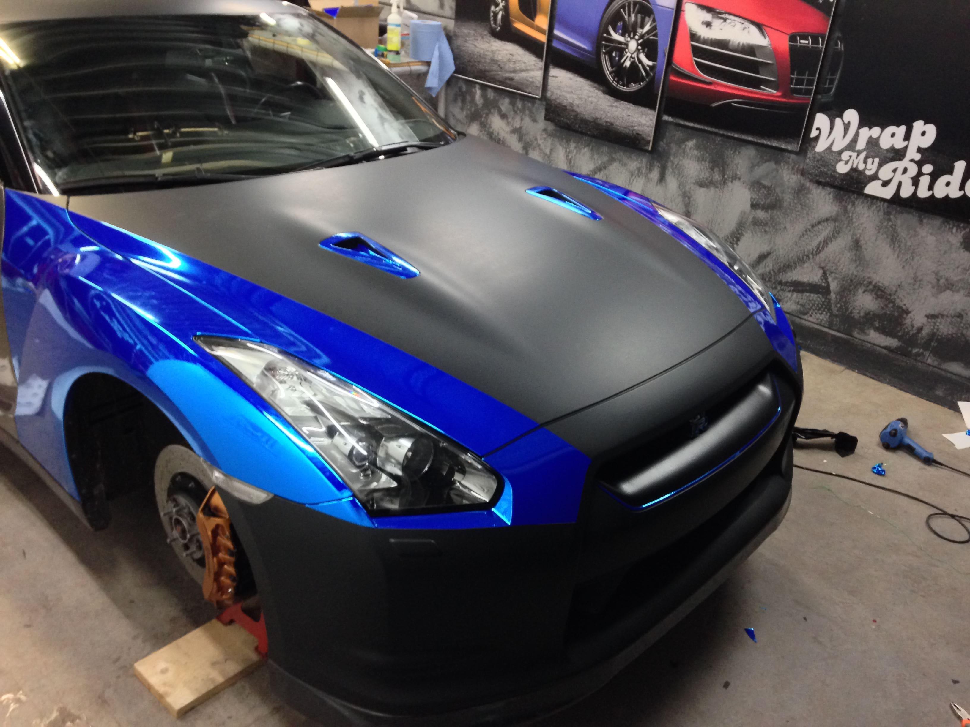 Nissan GT-R met Blue Chrome Wrap, Carwrapping door Wrapmyride.nu Foto-nr:6456, ©2021
