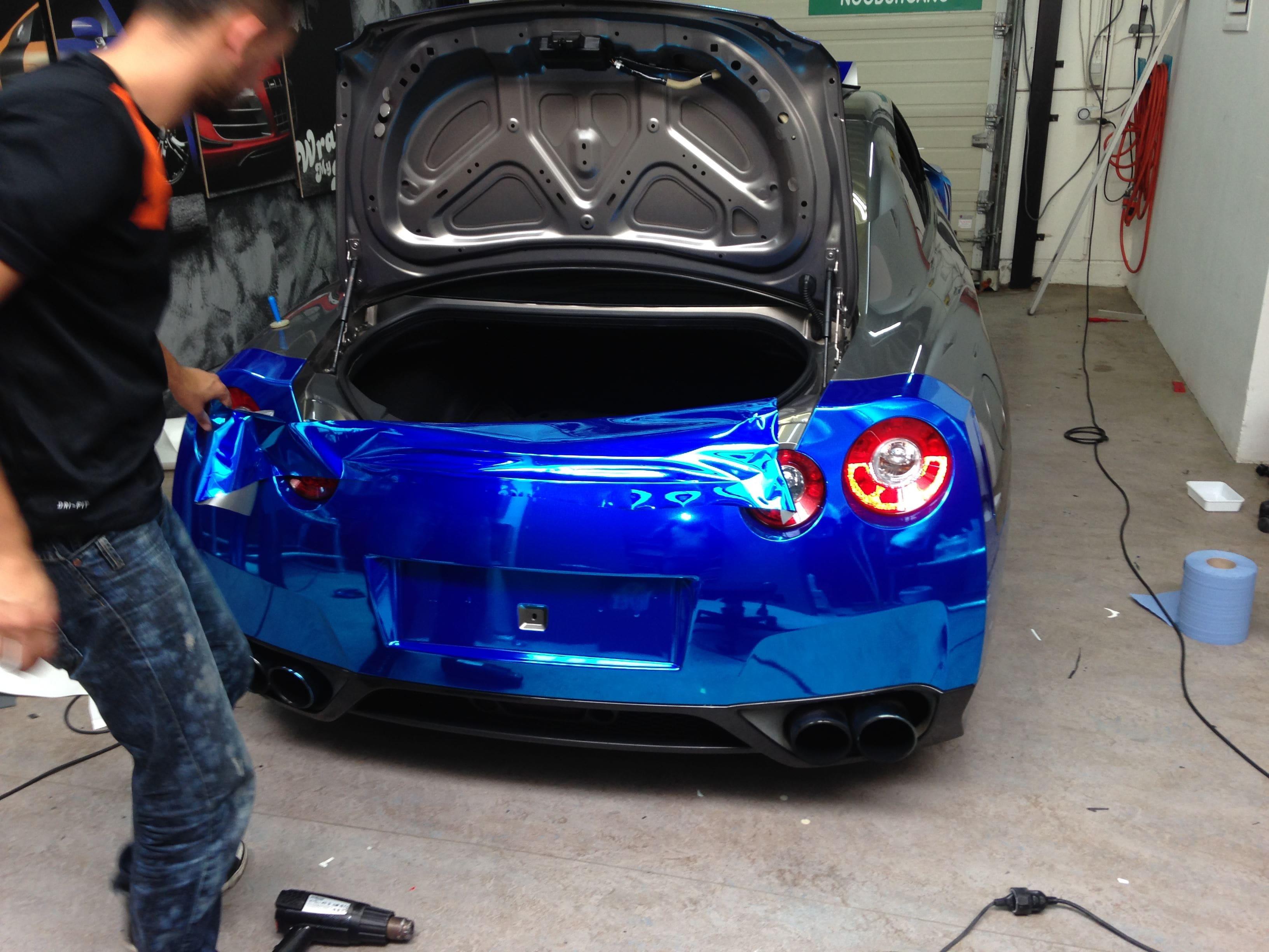 Nissan GT-R met Blue Chrome Wrap, Carwrapping door Wrapmyride.nu Foto-nr:6457, ©2021