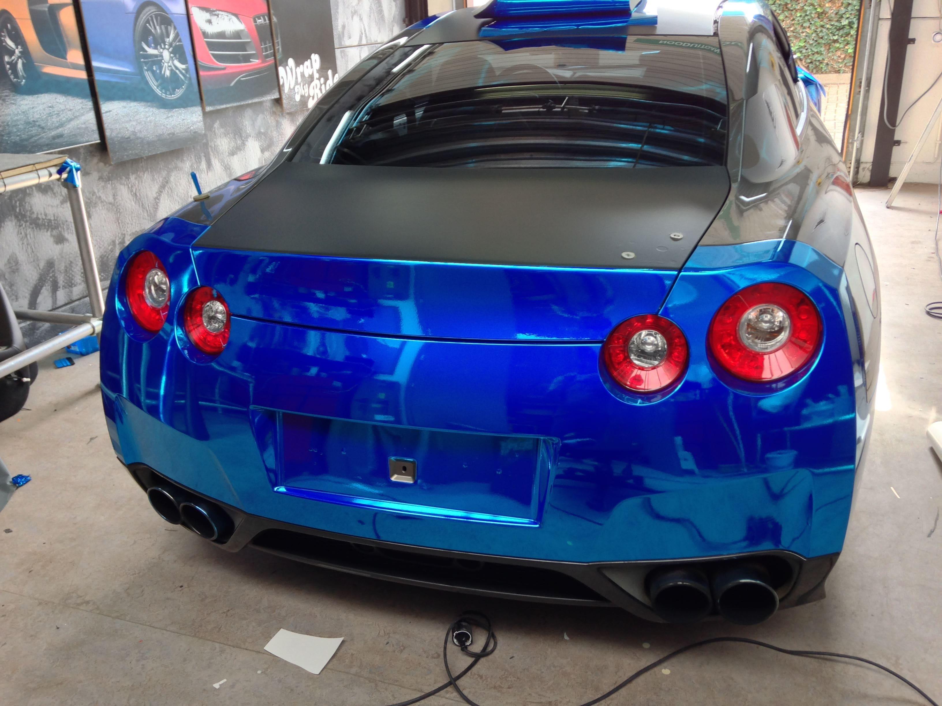 Nissan GT-R met Blue Chrome Wrap, Carwrapping door Wrapmyride.nu Foto-nr:6459, ©2021