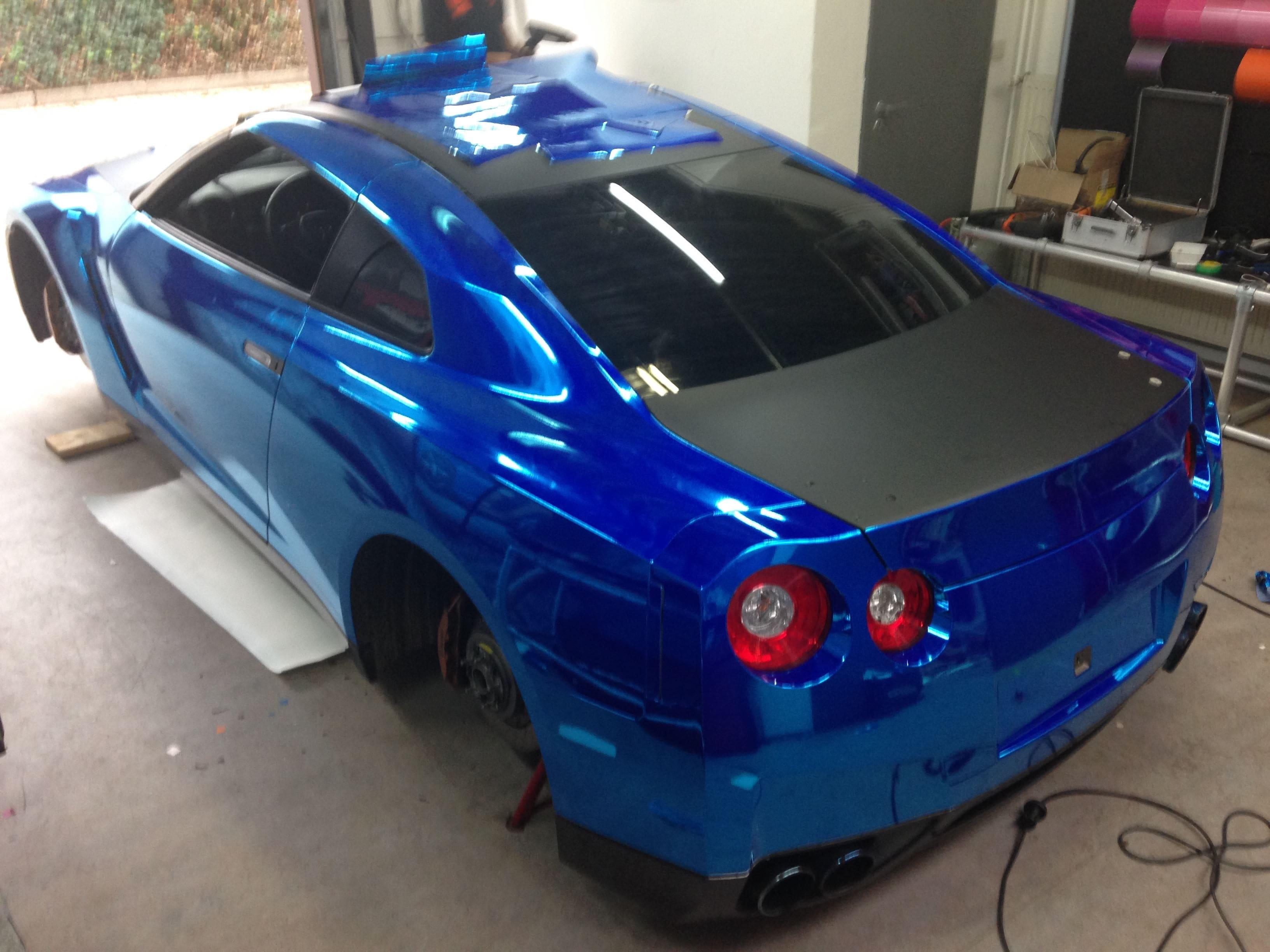 Nissan GT-R met Blue Chrome Wrap, Carwrapping door Wrapmyride.nu Foto-nr:6460, ©2021