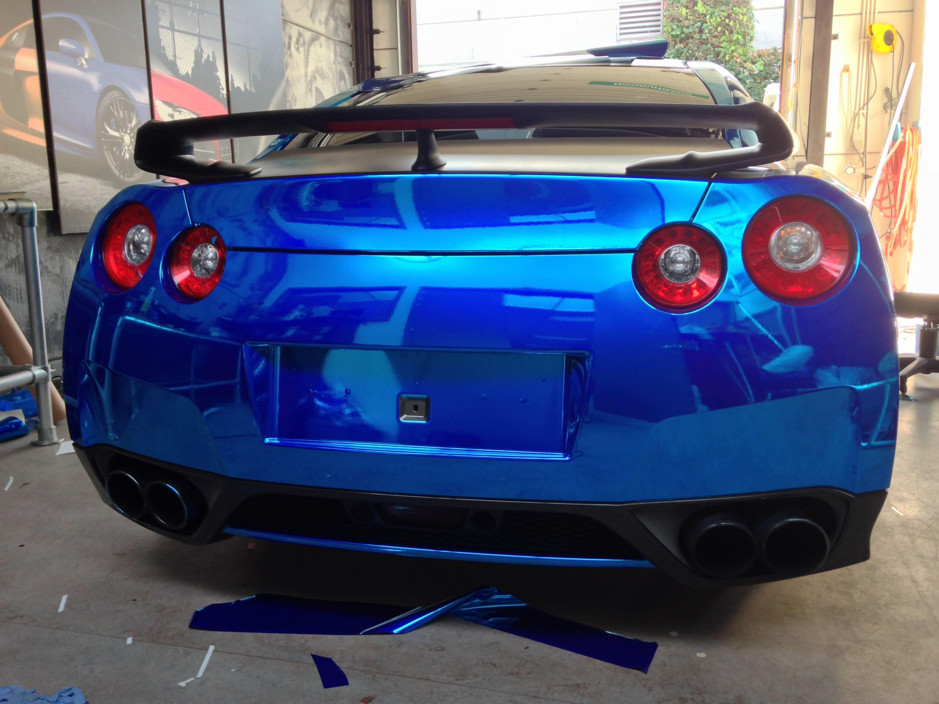 Nissan GT-R met Blue Chrome Wrap, Carwrapping door Wrapmyride.nu Foto-nr:6462, ©2021