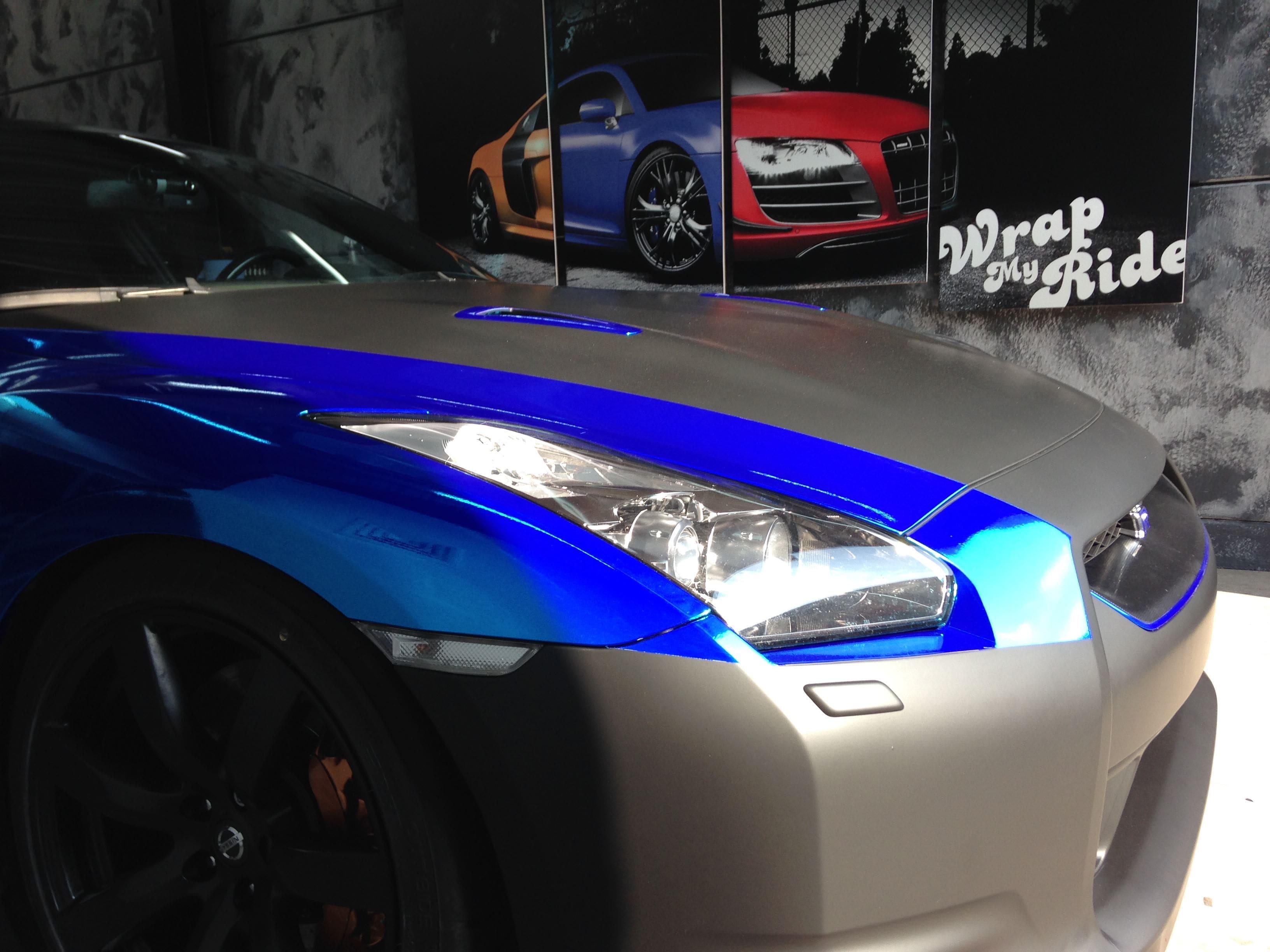 Nissan GT-R met Blue Chrome Wrap, Carwrapping door Wrapmyride.nu Foto-nr:6463, ©2021