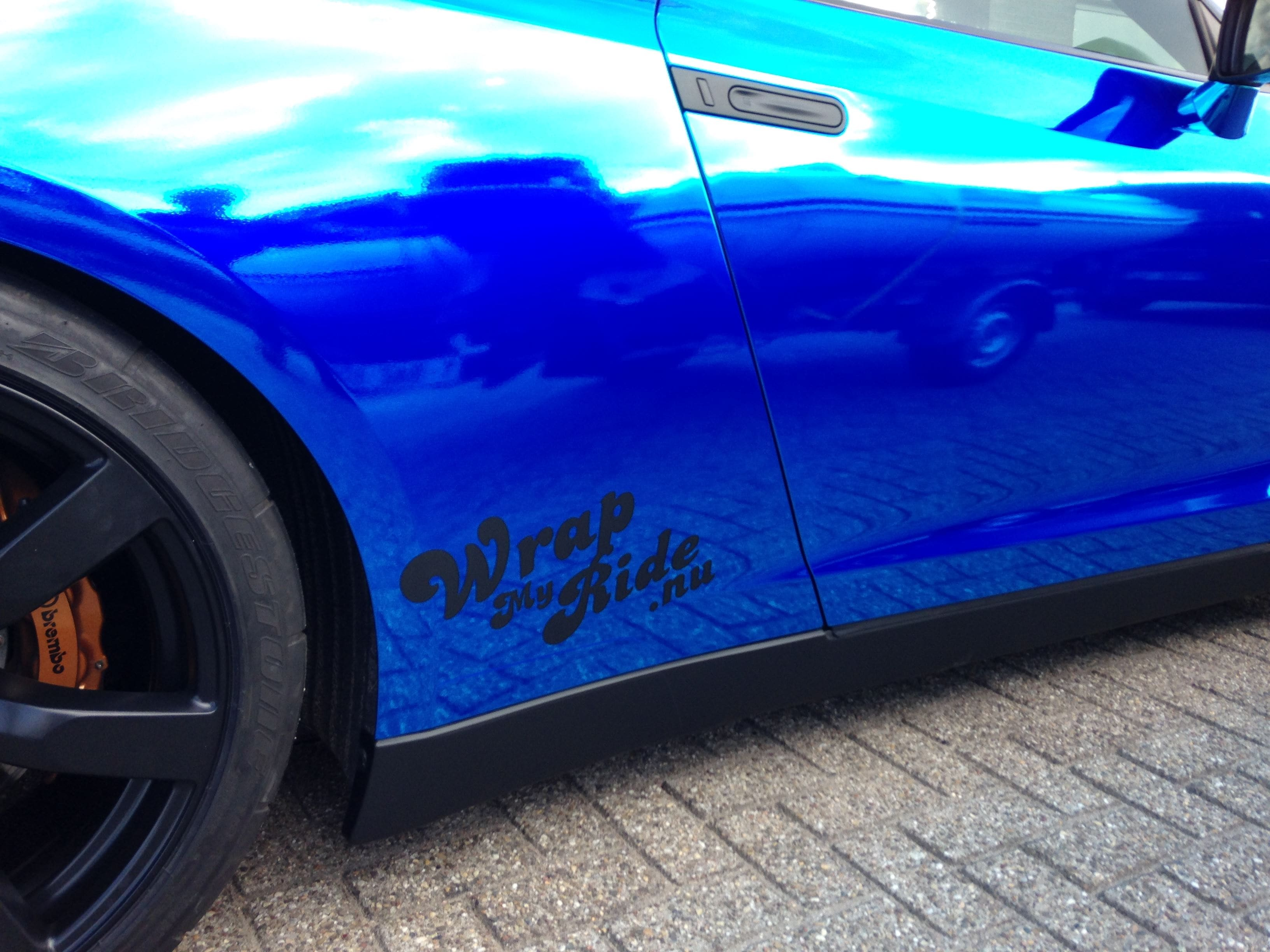 Nissan GT-R met Blue Chrome Wrap, Carwrapping door Wrapmyride.nu Foto-nr:6464, ©2020