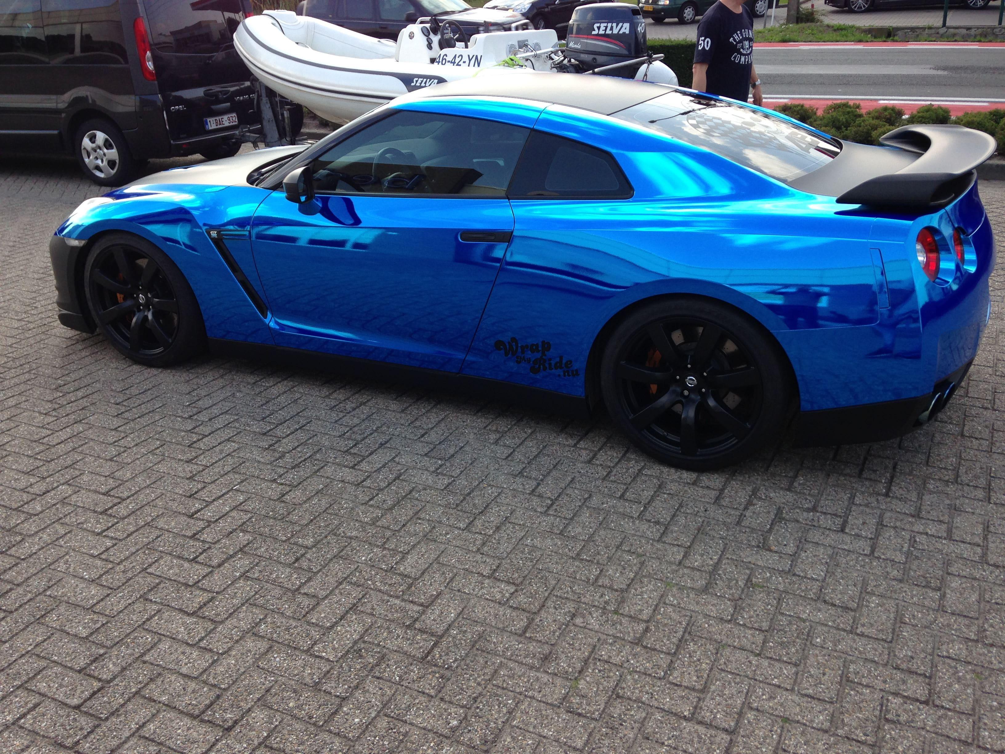 Nissan GT-R met Blue Chrome Wrap, Carwrapping door Wrapmyride.nu Foto-nr:6465, ©2021