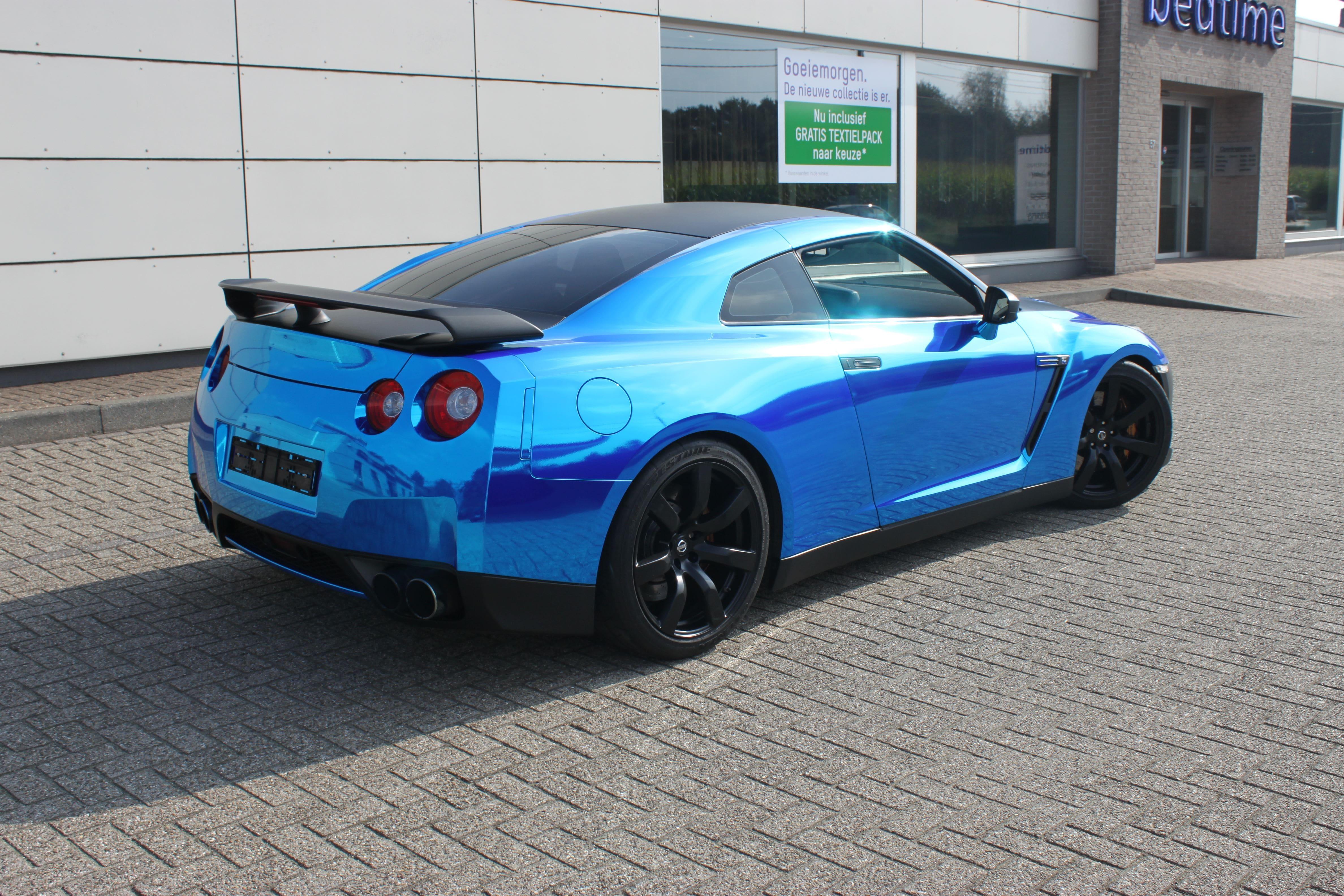 Nissan GT-R met Blue Chrome Wrap, Carwrapping door Wrapmyride.nu Foto-nr:6473, ©2021