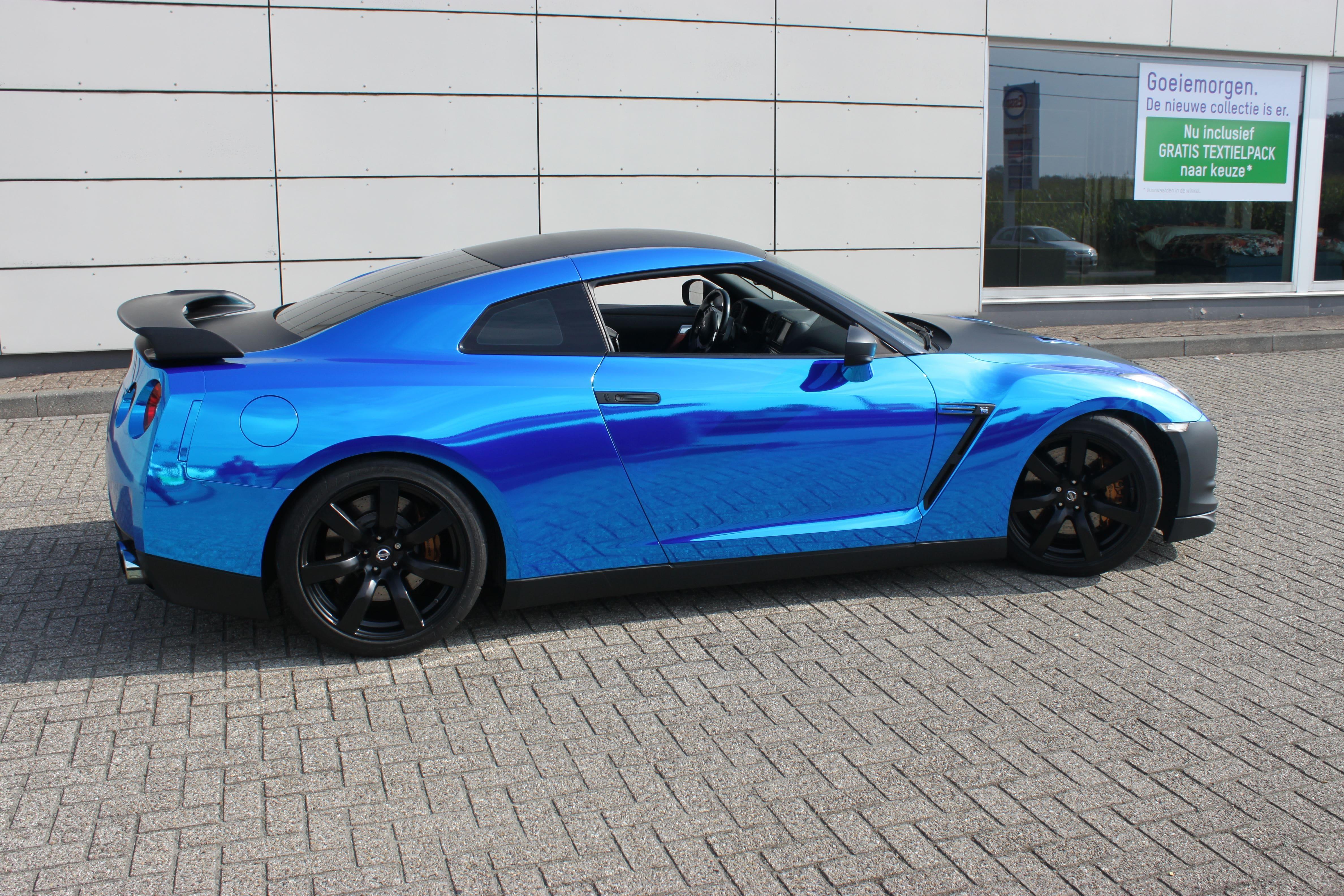 Nissan GT-R met Blue Chrome Wrap, Carwrapping door Wrapmyride.nu Foto-nr:6474, ©2021